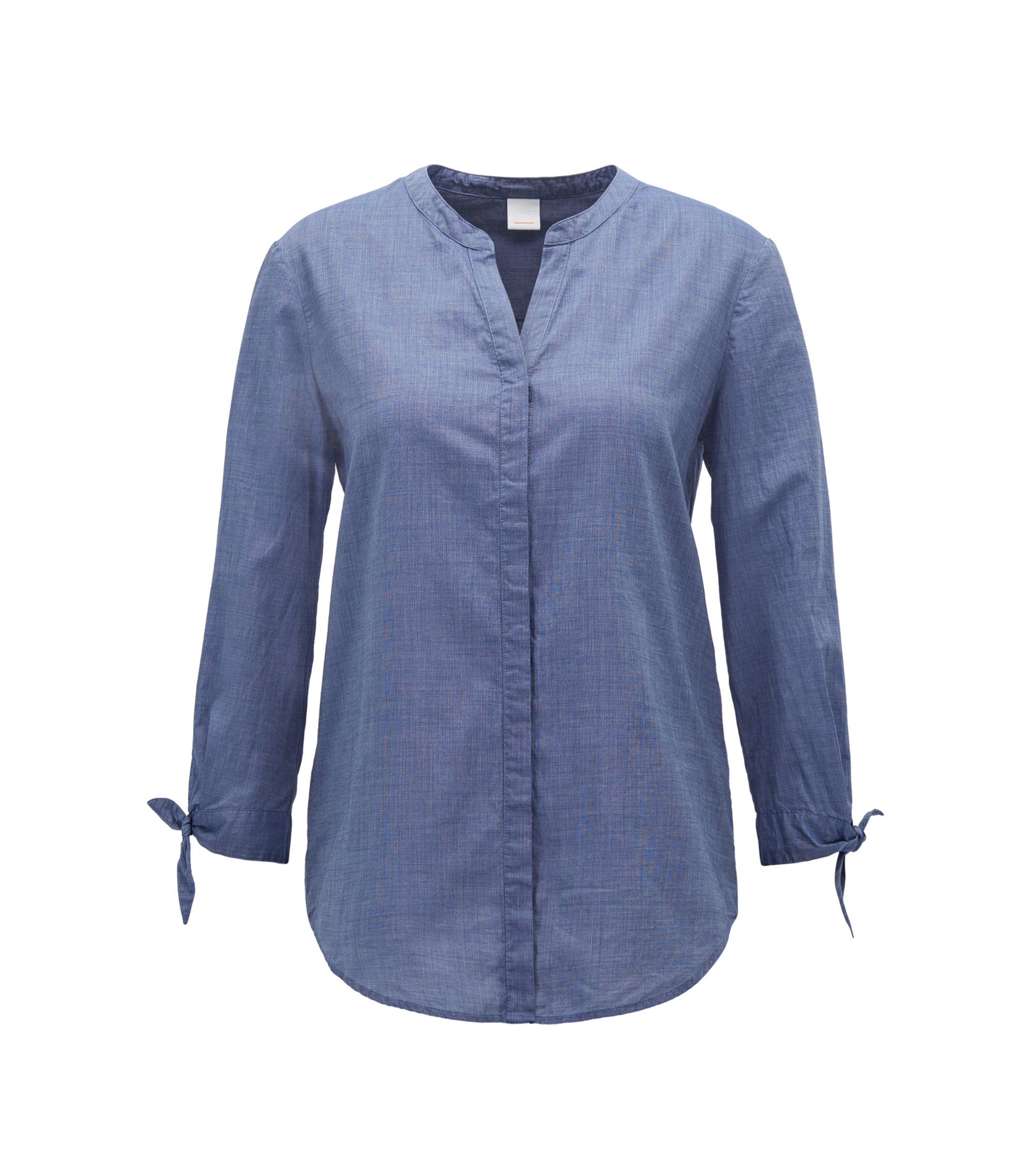 Relaxed-fit blouse in a cotton-blend chambray, Dark Blue