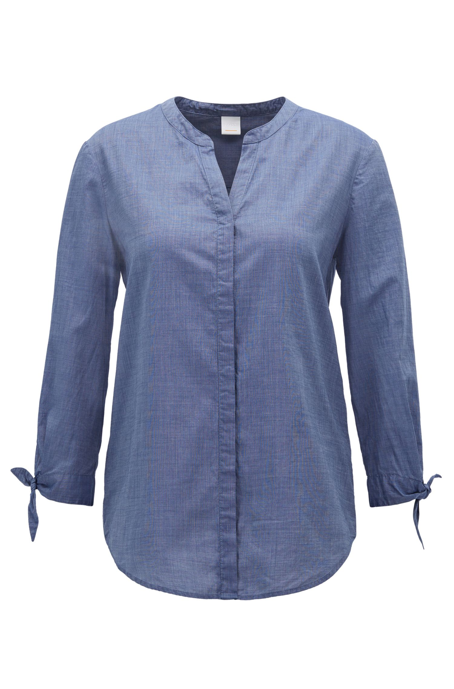 Relaxed-fit blouse in a cotton-blend chambray
