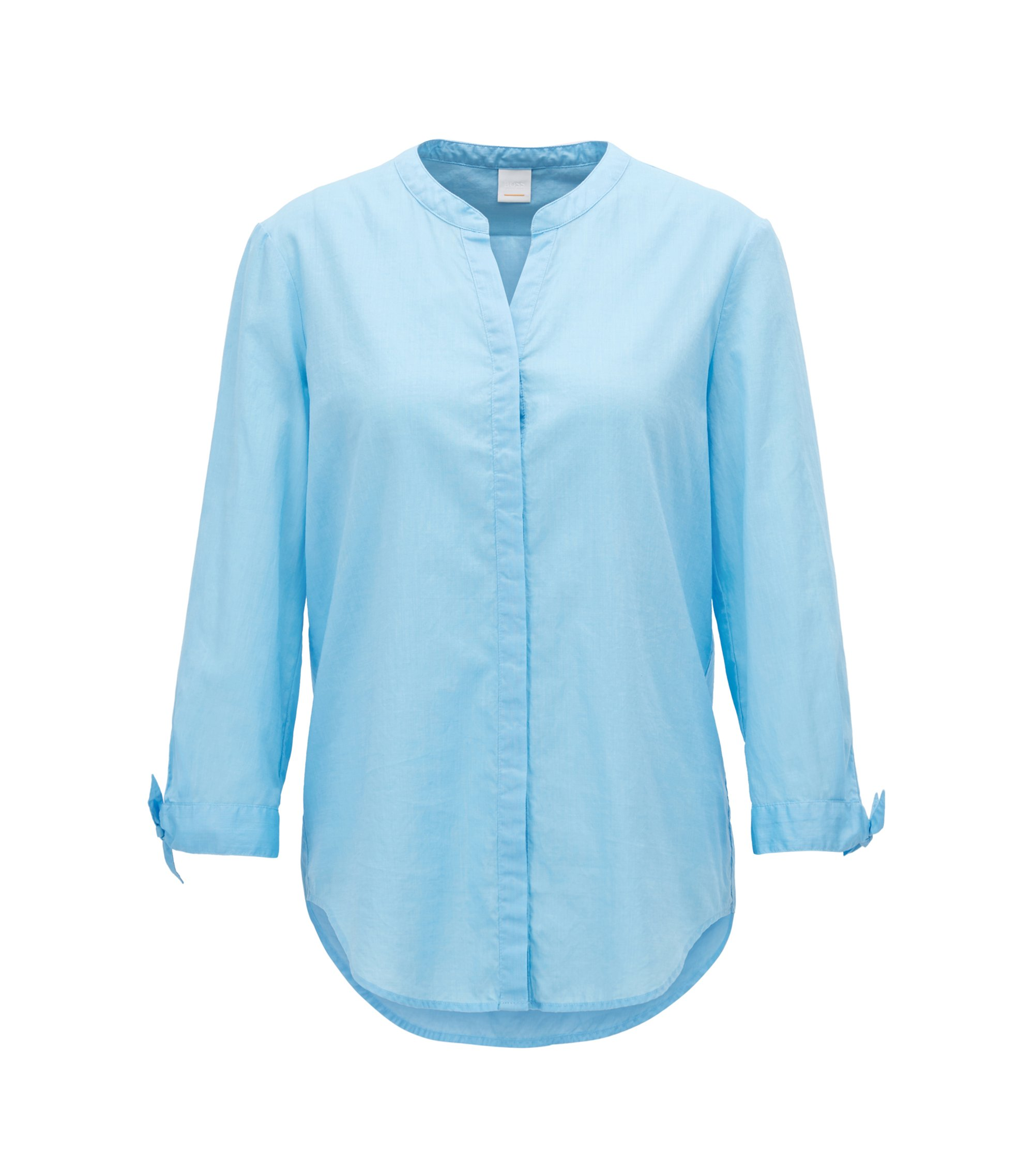 Relaxed-fit blouse in a cotton-blend chambray, Light Blue
