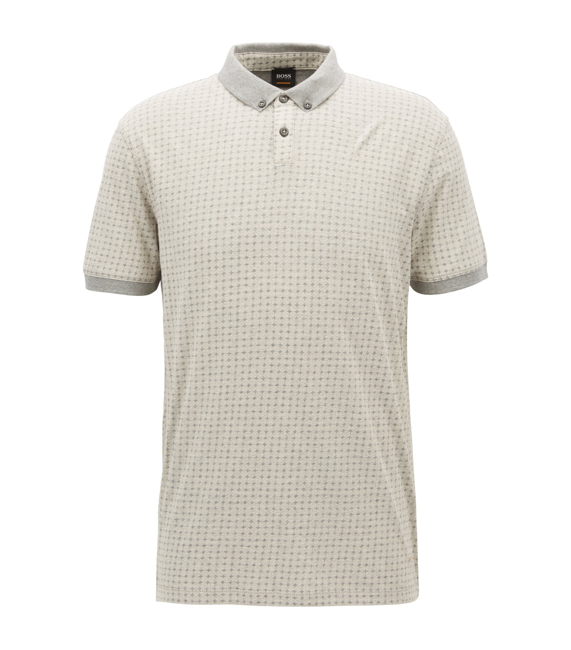 Relaxed-fit polo shirt in patterned cotton, Light Grey