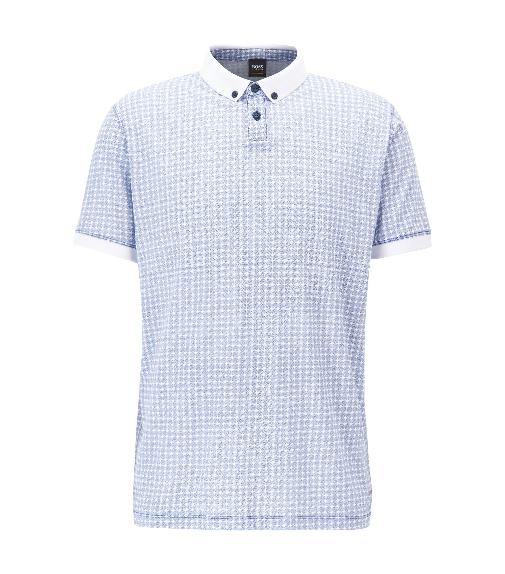 Relaxed-fit polo shirt in patterned cotton, Light Blue