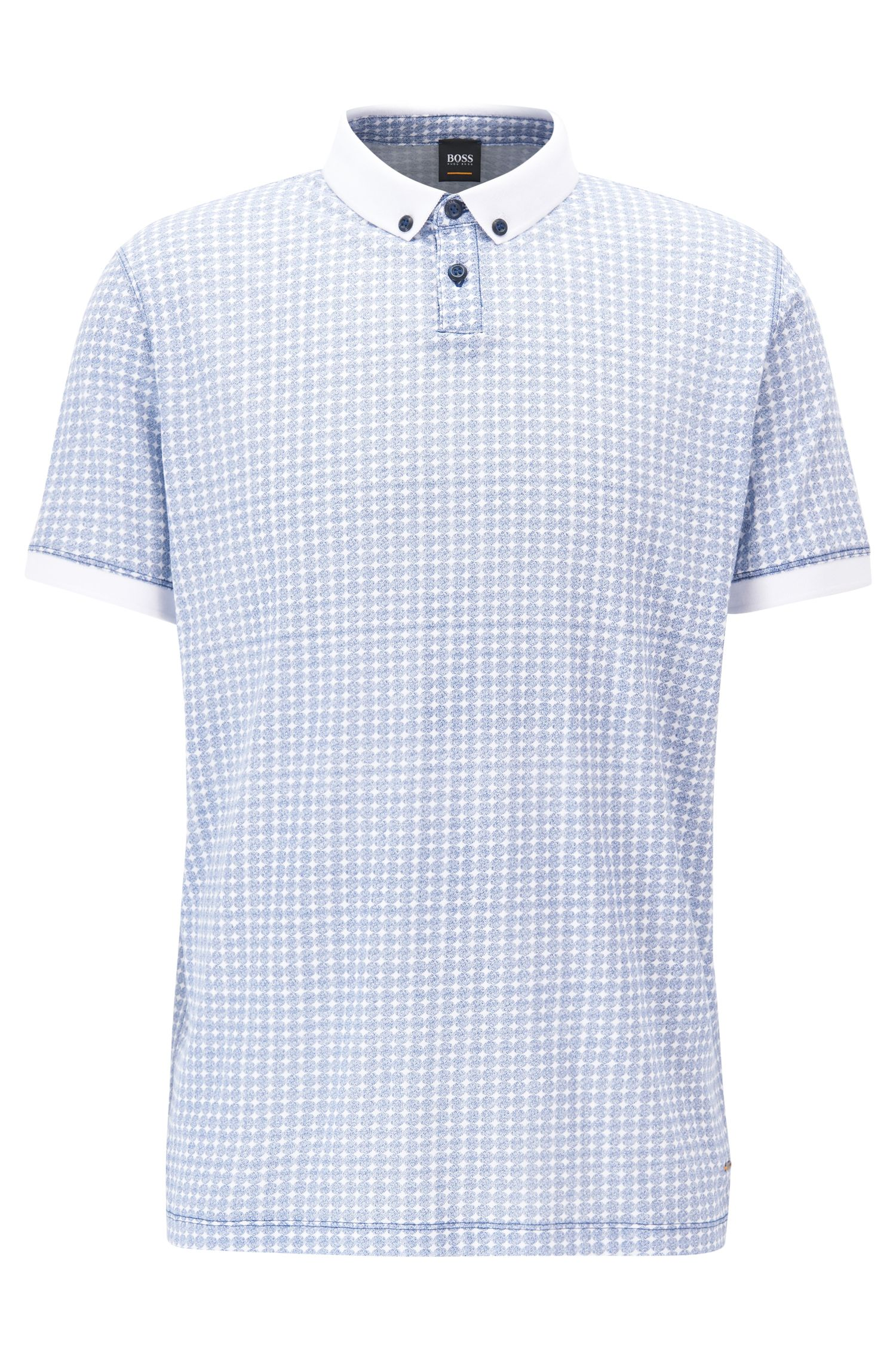 Relaxed-fit polo shirt in patterned cotton