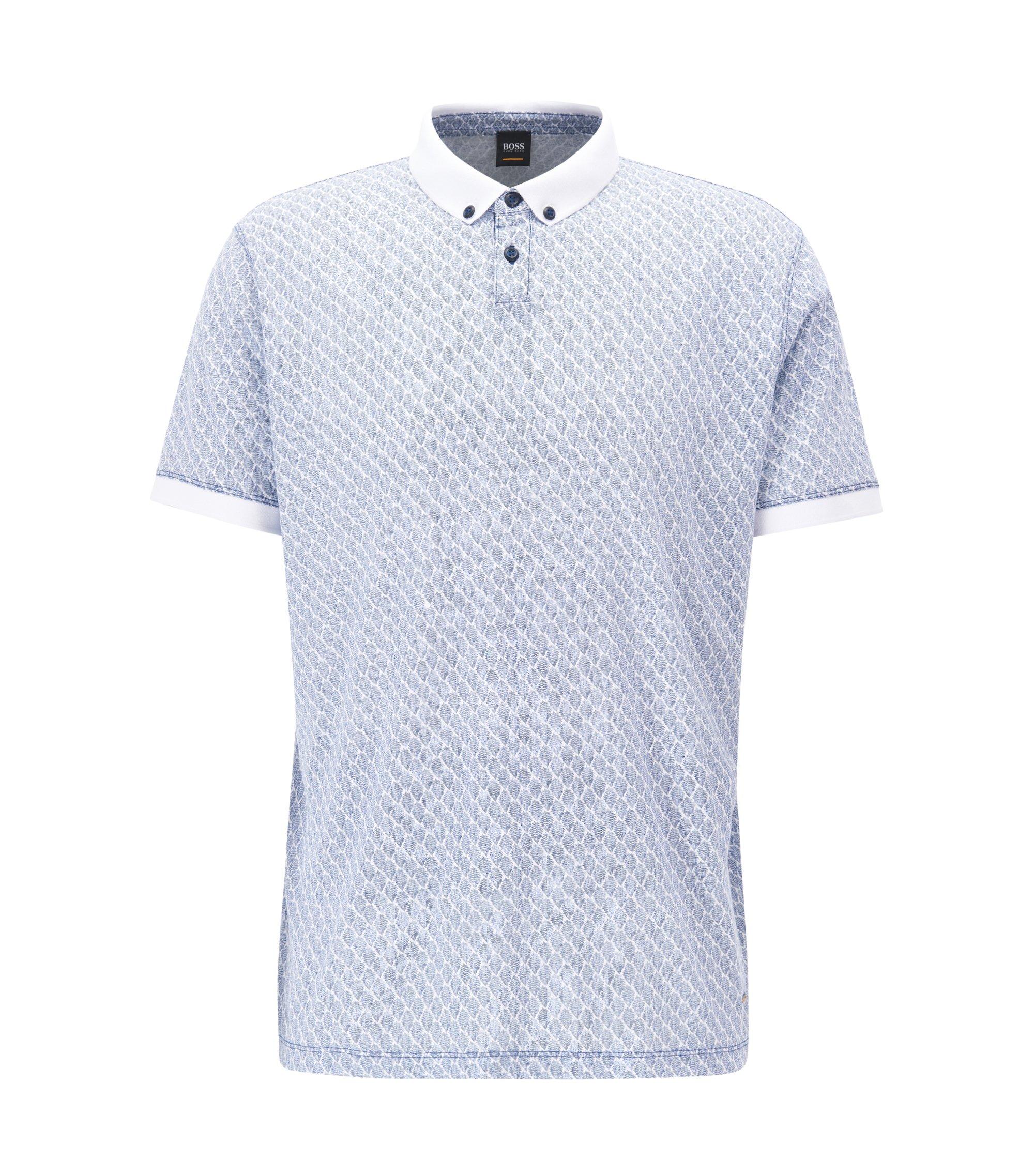 Gemustertes Poloshirt aus Baumwolle, Hellblau