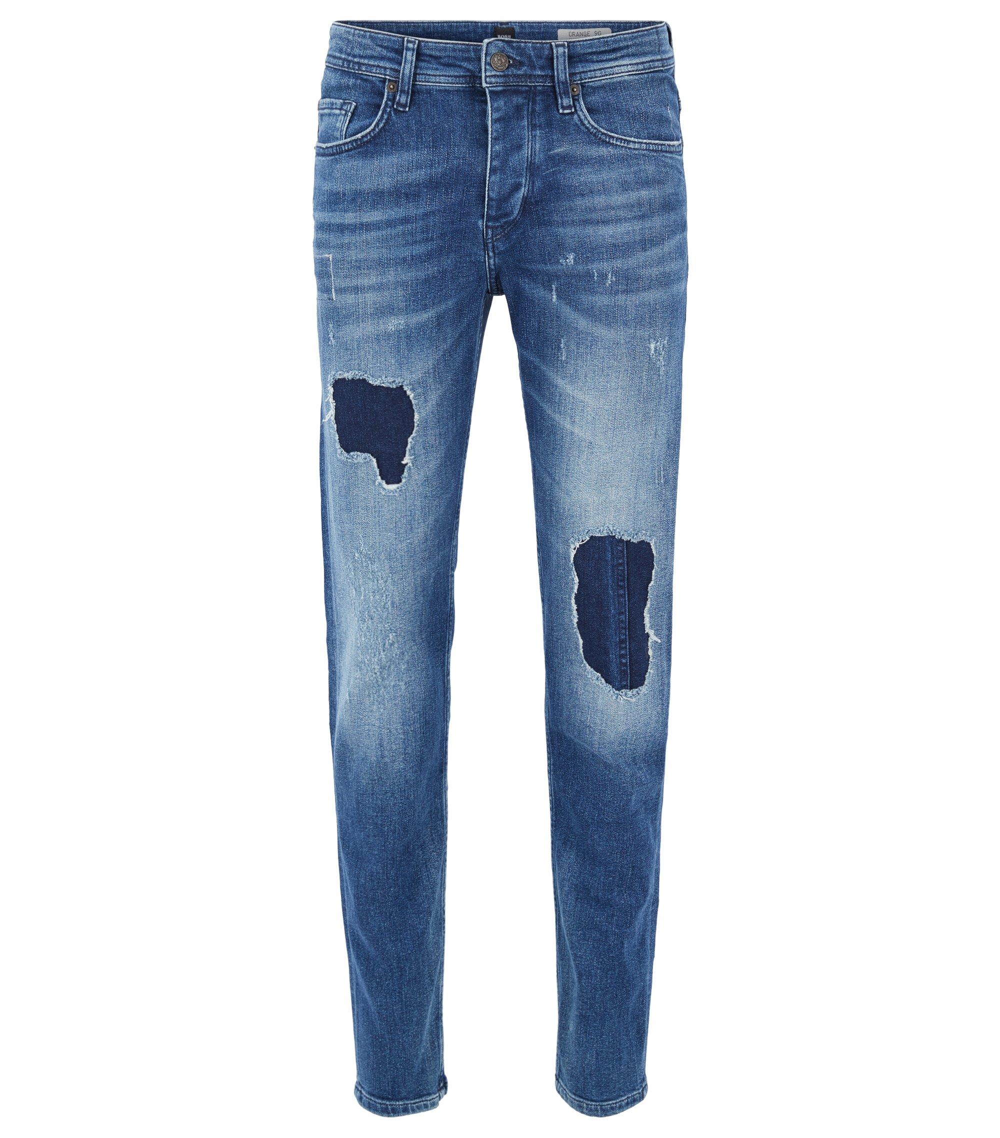 Tapered-fit, vintage-blue jeans van stretchdenim met destroyed-effecten, Blauw