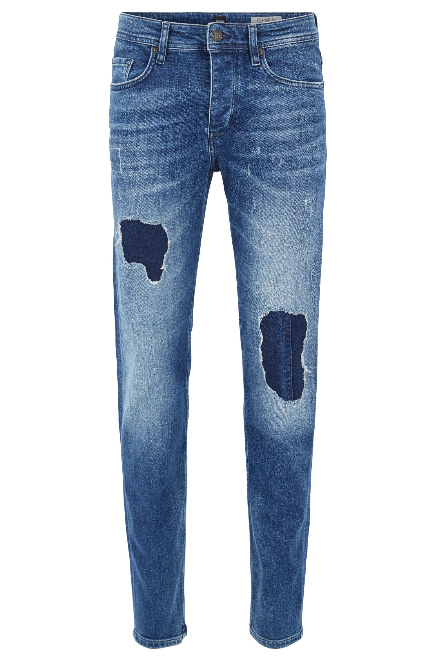 Vintage-blue tapered-fit stretch-denim jeans with destroyed effects