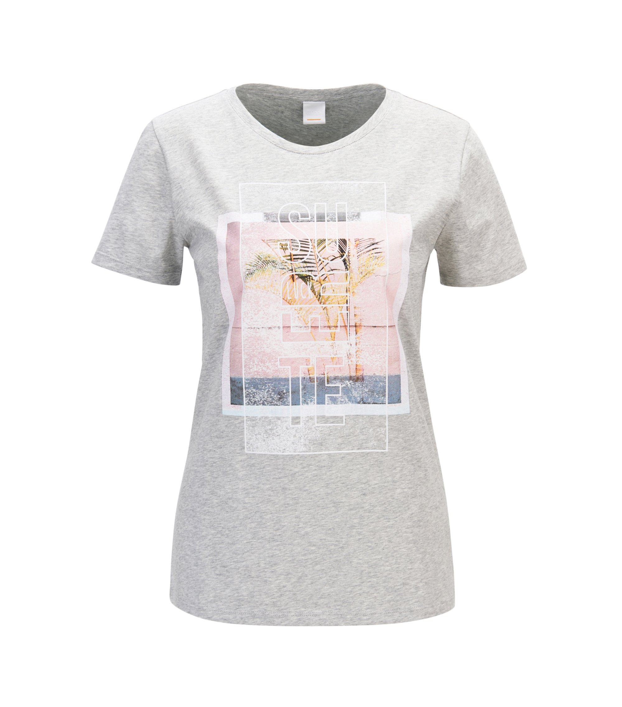 Mixed graphic-print T-shirt in washed cotton jersey , Light Grey