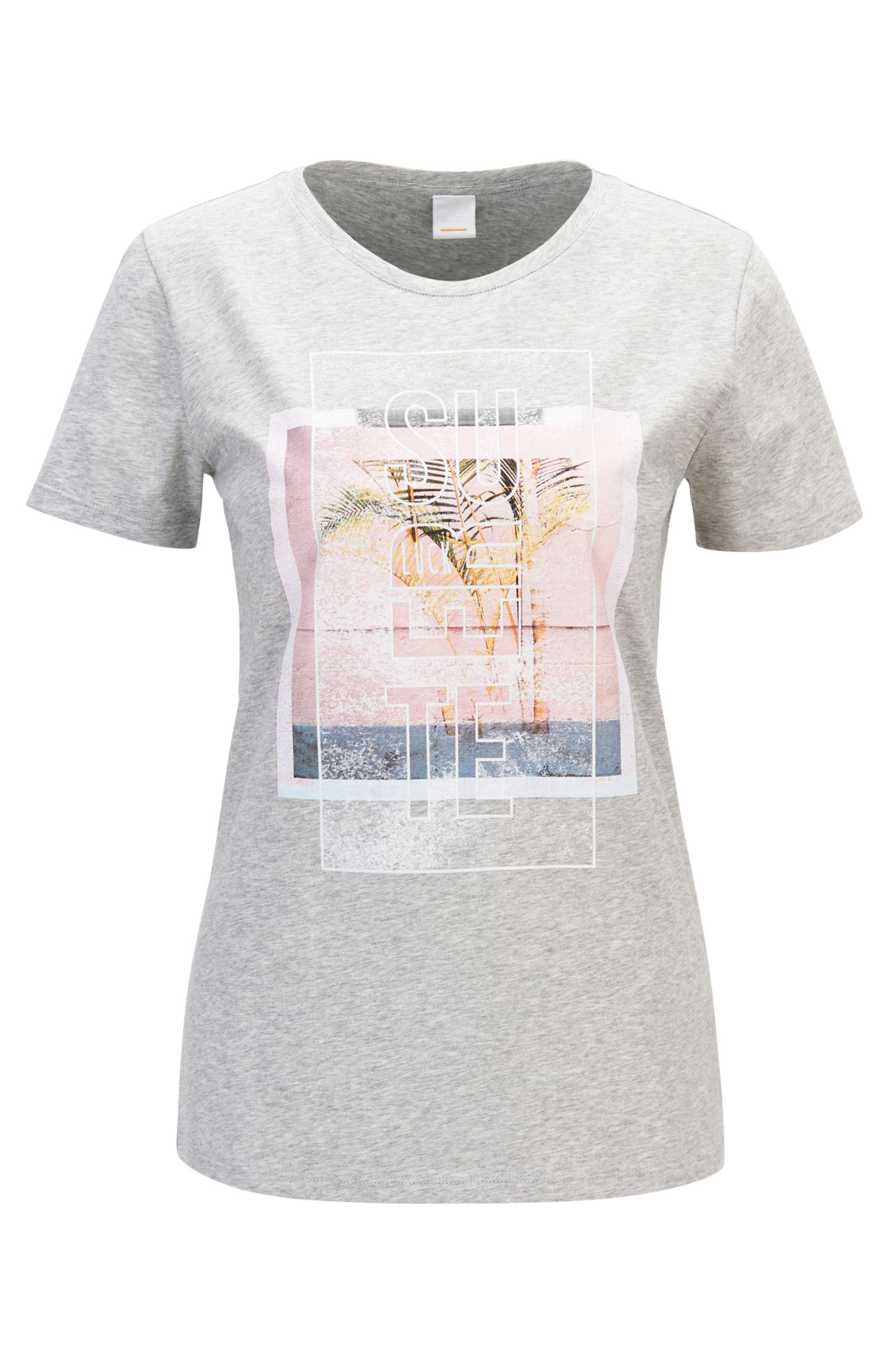 Mixed graphic-print T-shirt in washed cotton jersey