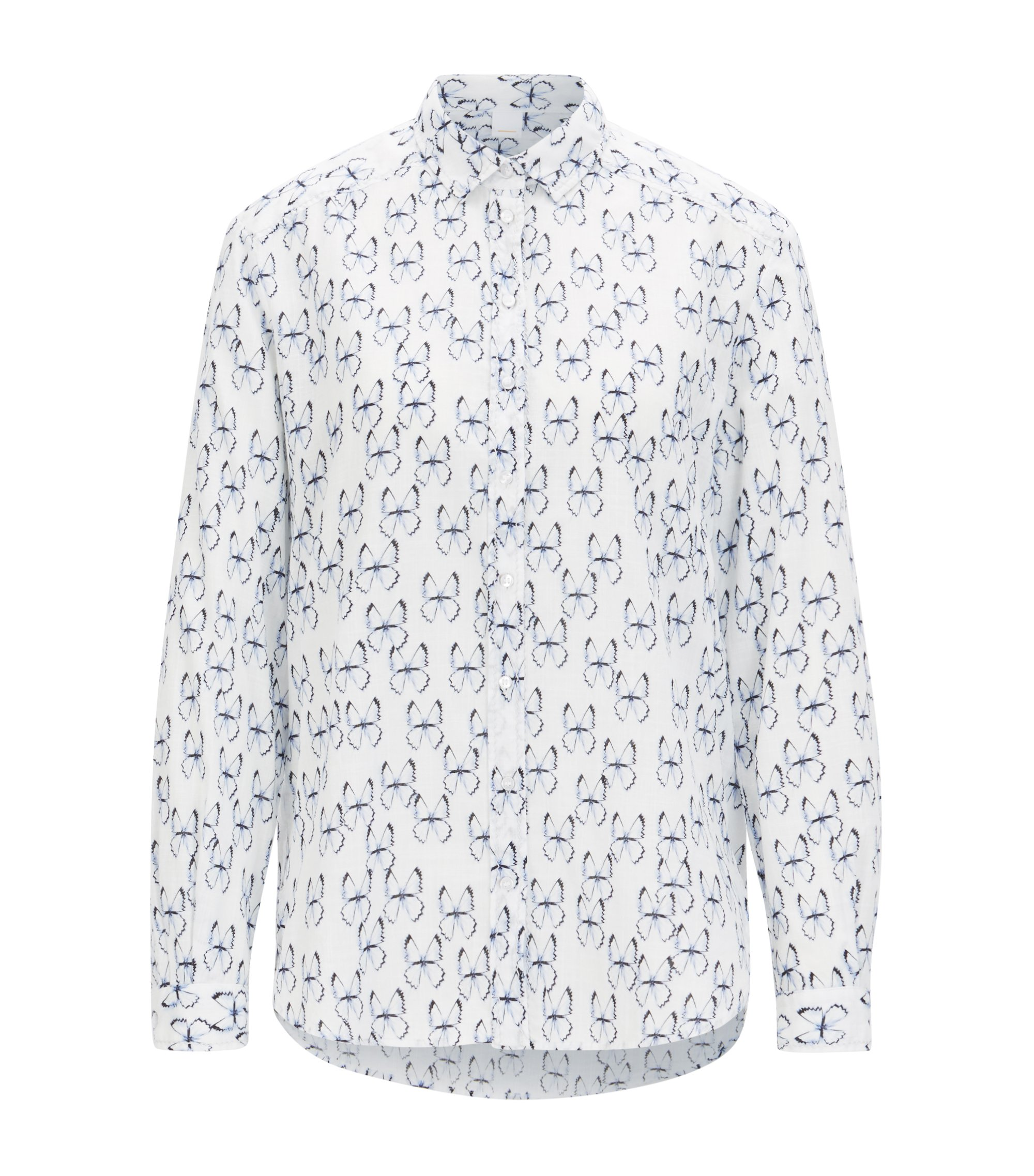 Shirt-style printed blouse in yarn-dyed cotton, Patterned