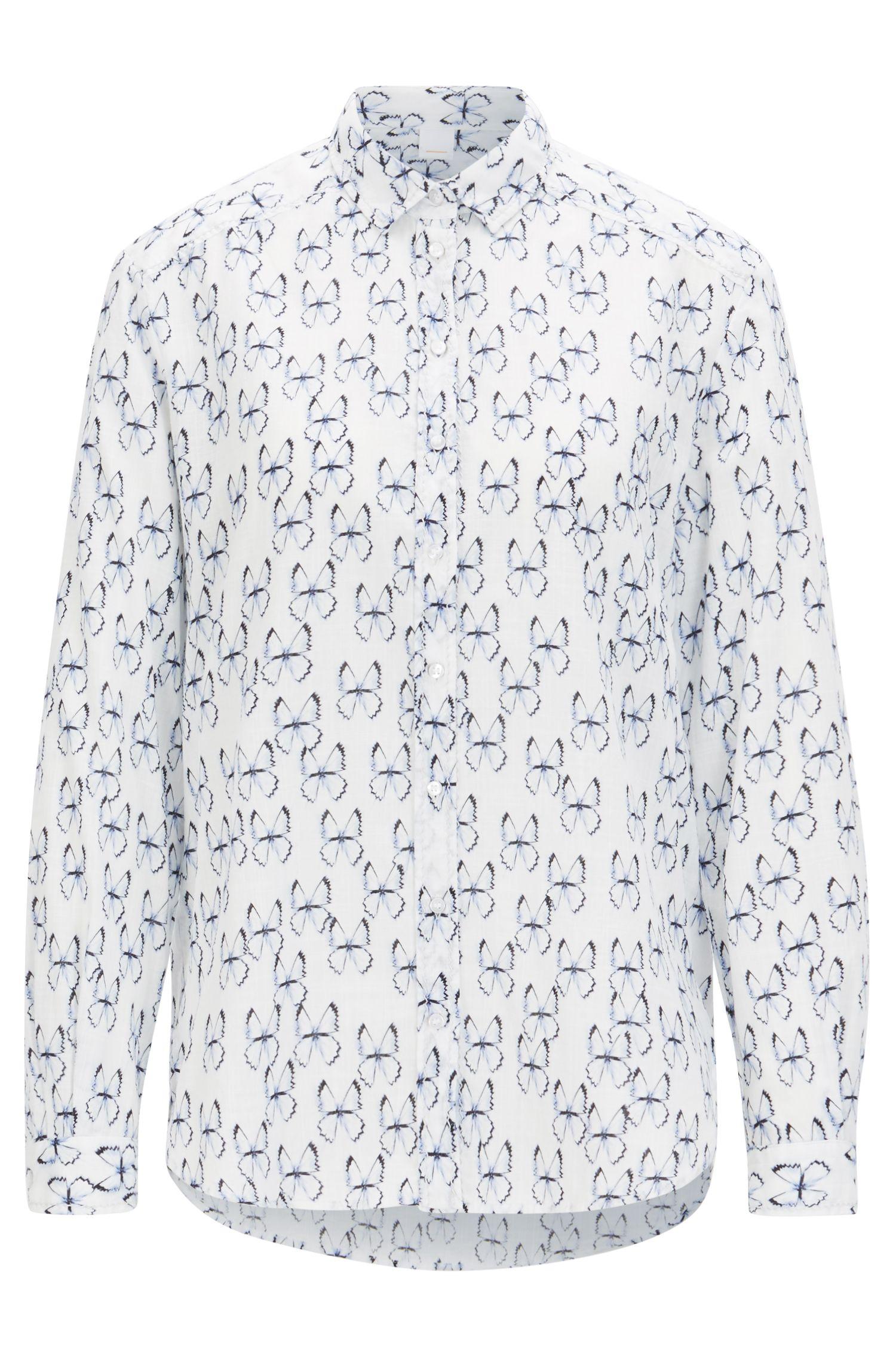 Chemisier imprimé style chemise en coton tissé-teint