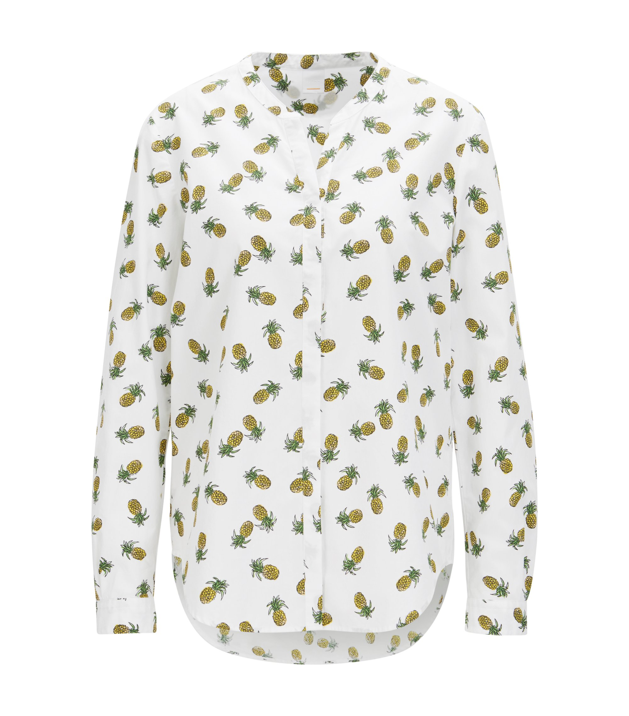 Pineapple-print blouse in cotton canvas, White