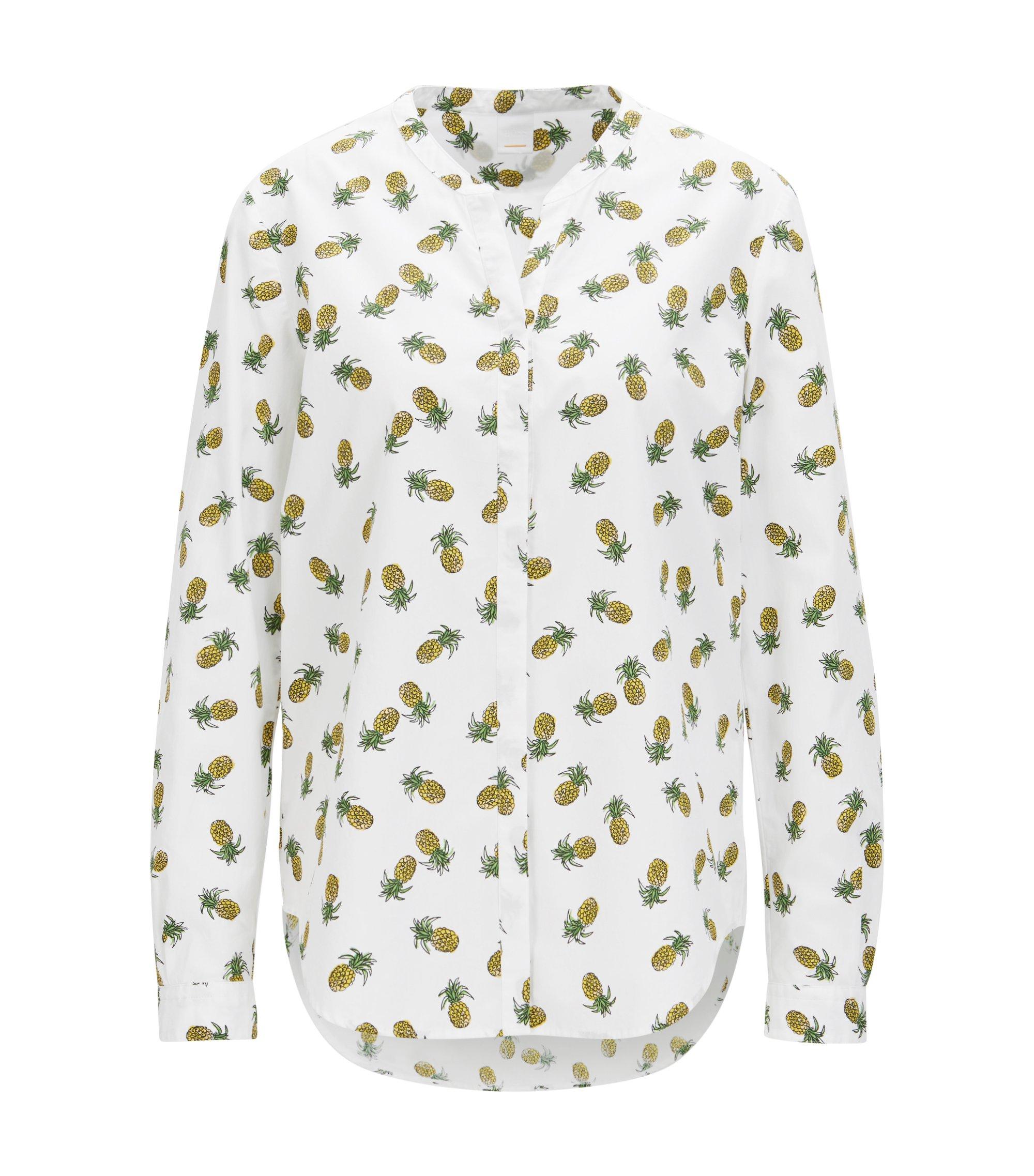 Blusa con estampado de piñas en loneta de algodón, Blanco