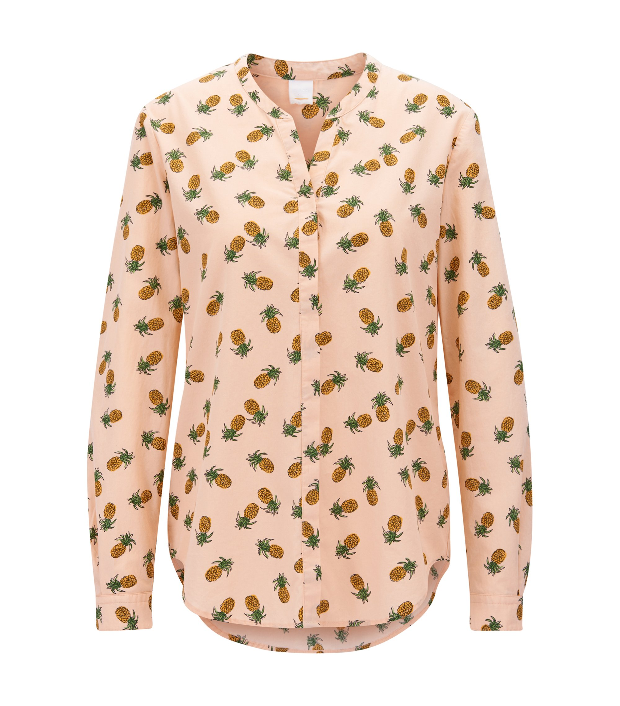 Relaxed-Fit Bluse aus Baumwoll-Canvas mit Ananas-Print, Hellrosa