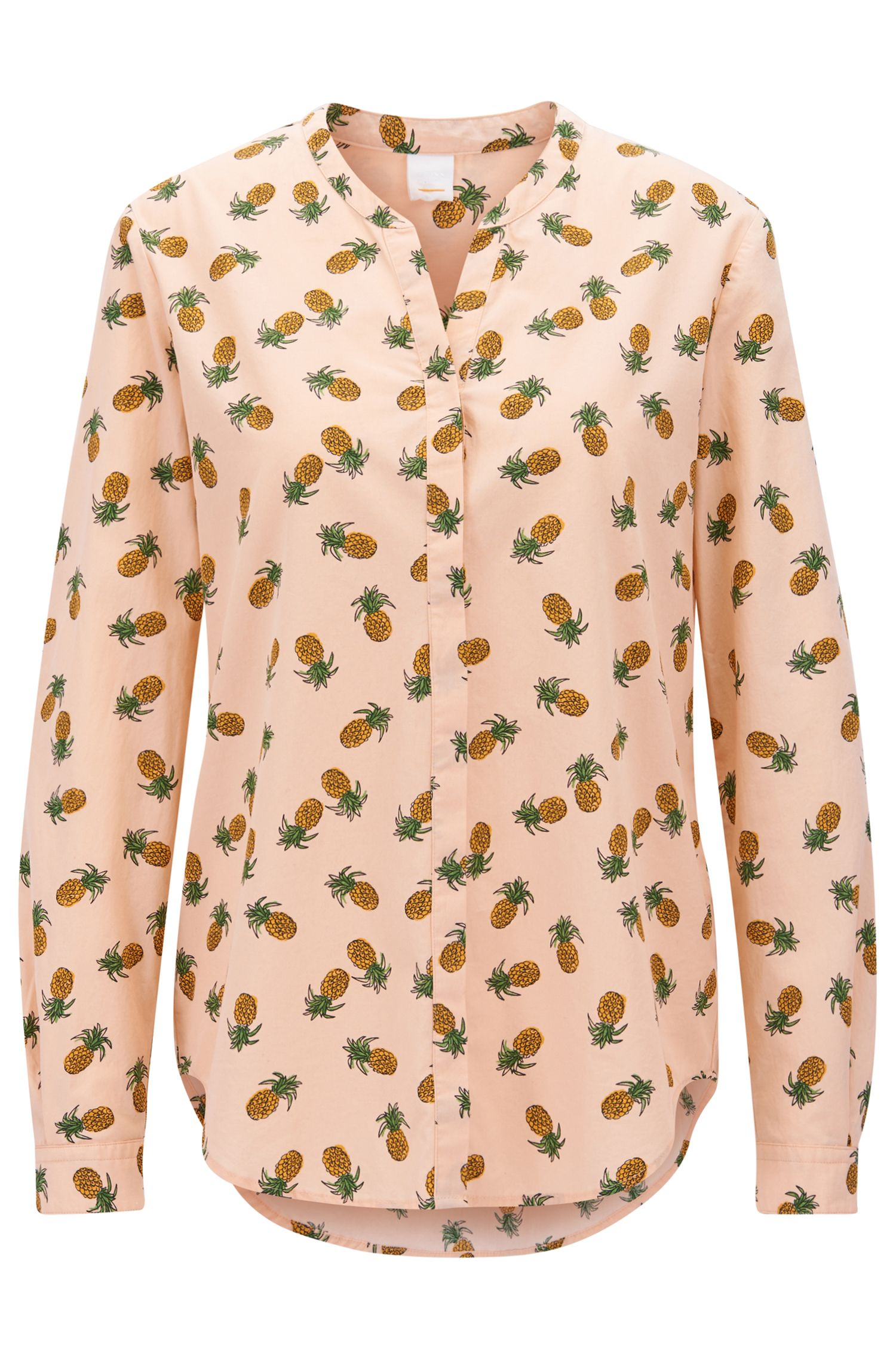 Pineapple-print blouse in cotton canvas