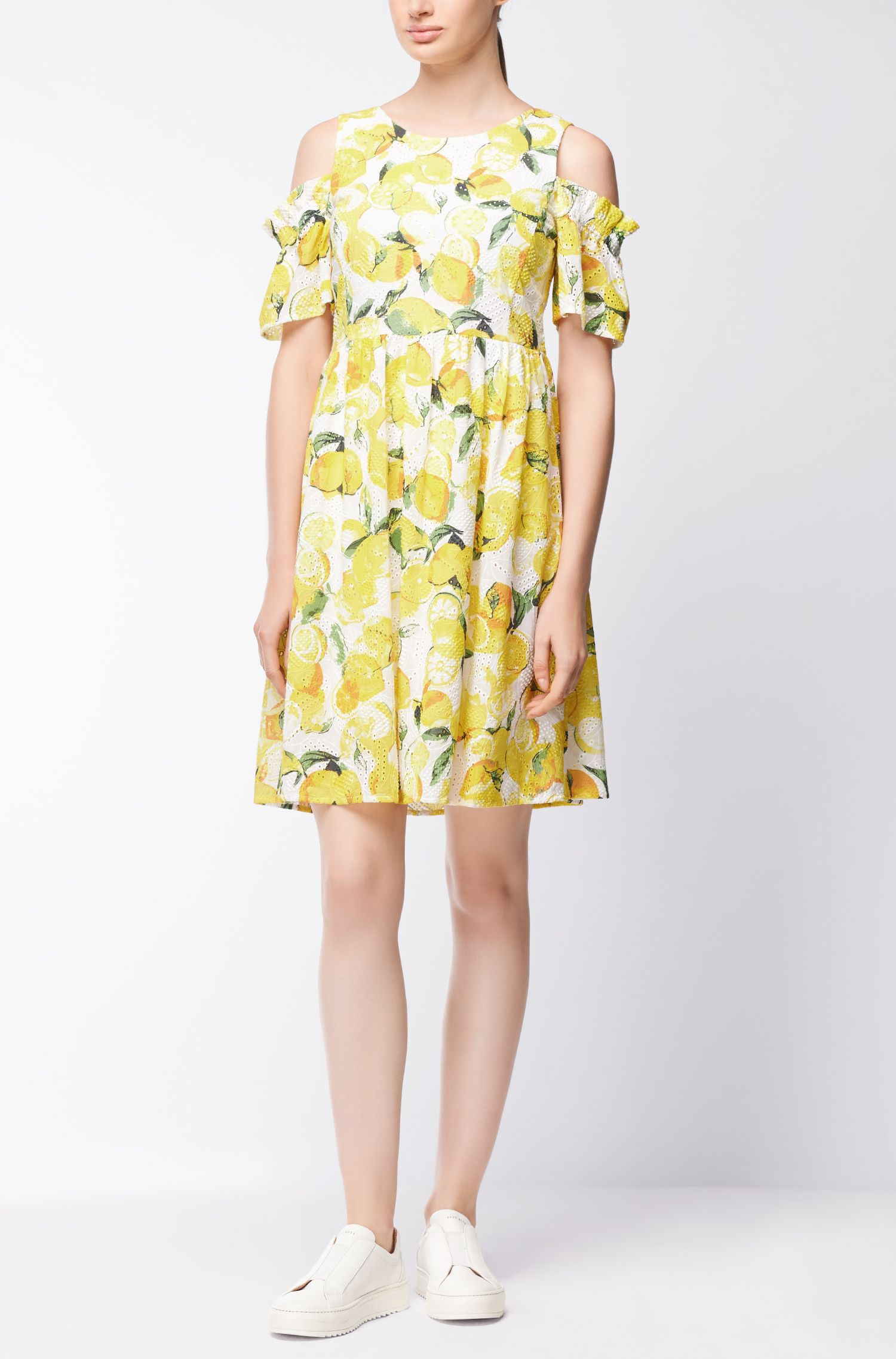 Cotton broderie-anglaise dress with lemon print