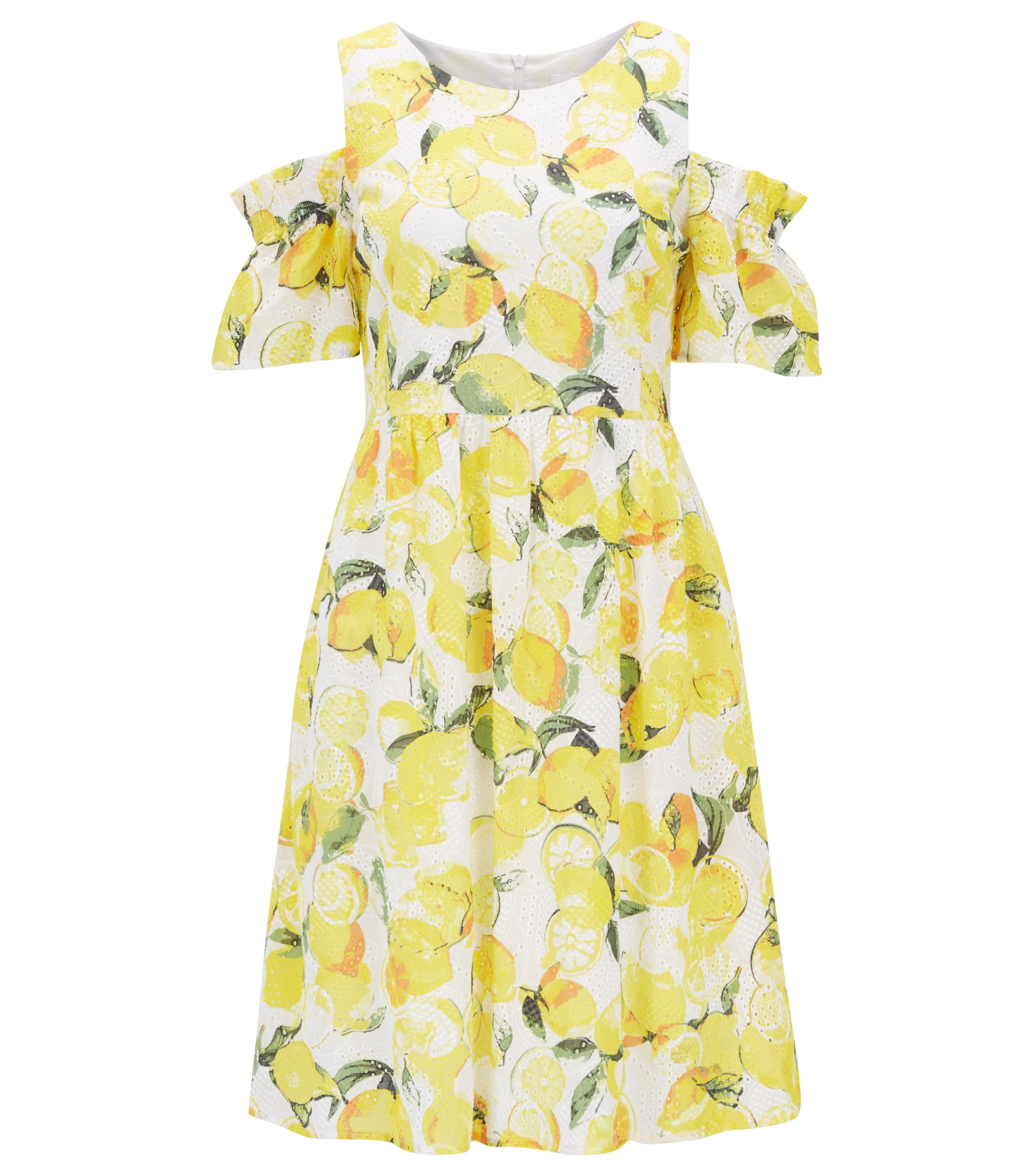 Baumwoll-Kleid mit Lochstickerei und Zitronen-Print, Gemustert