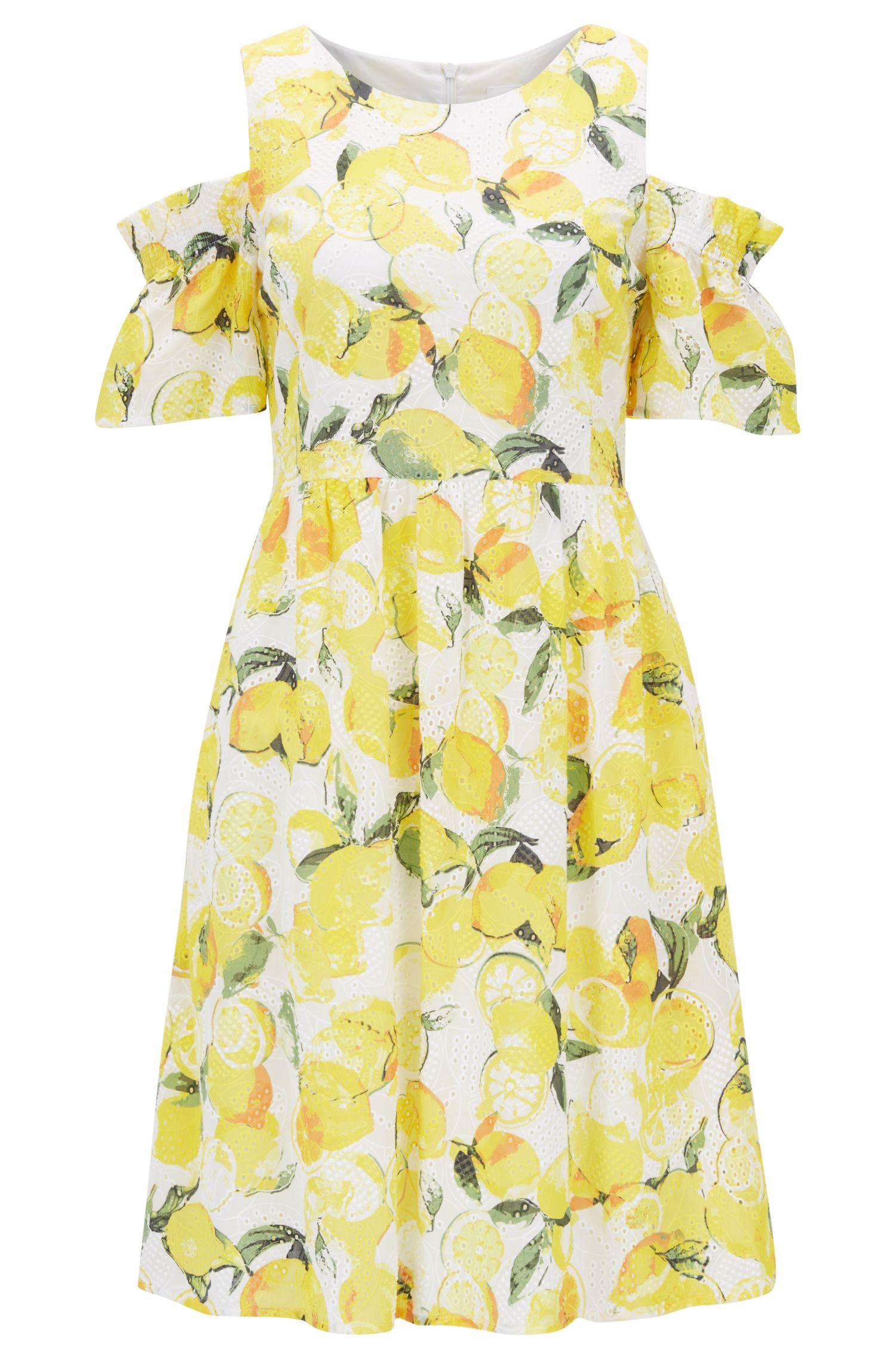 Baumwoll-Kleid mit Lochstickerei und Zitronen-Print