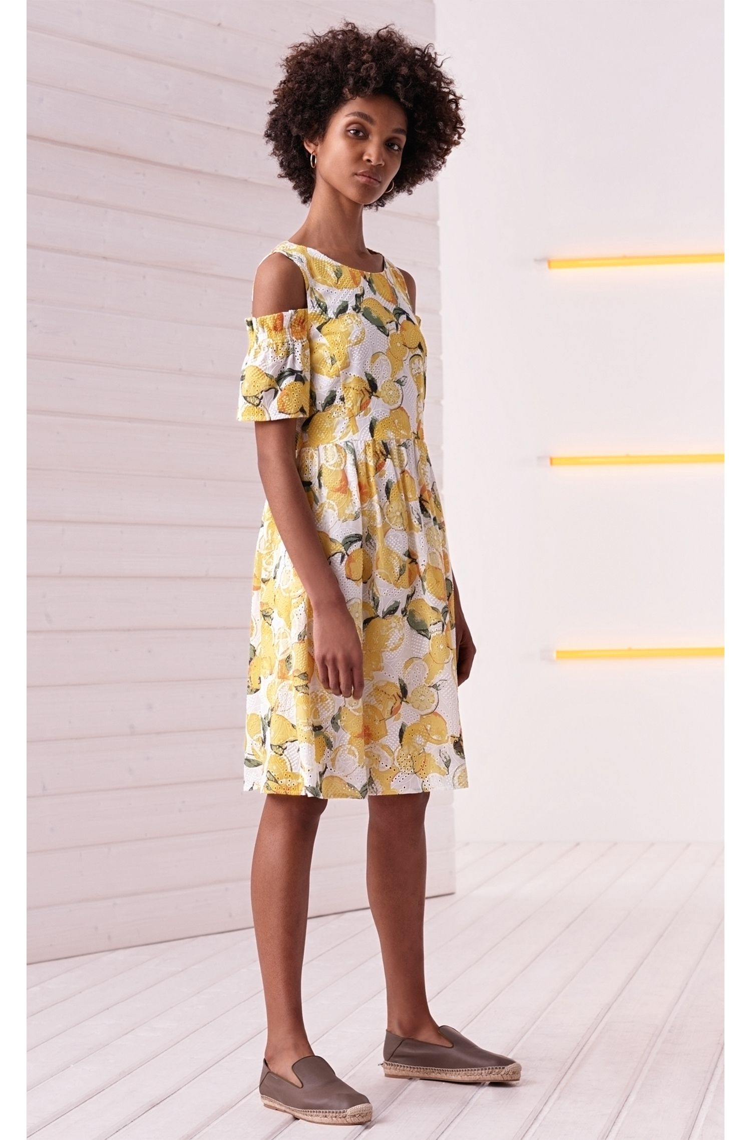 Cotton broderie-anglaise dress with lemon print BOSS