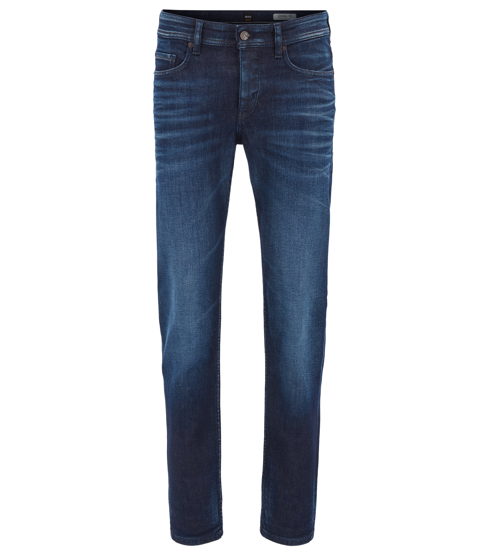 Jean Tapered Fit en denim stretch confortable, Bleu foncé