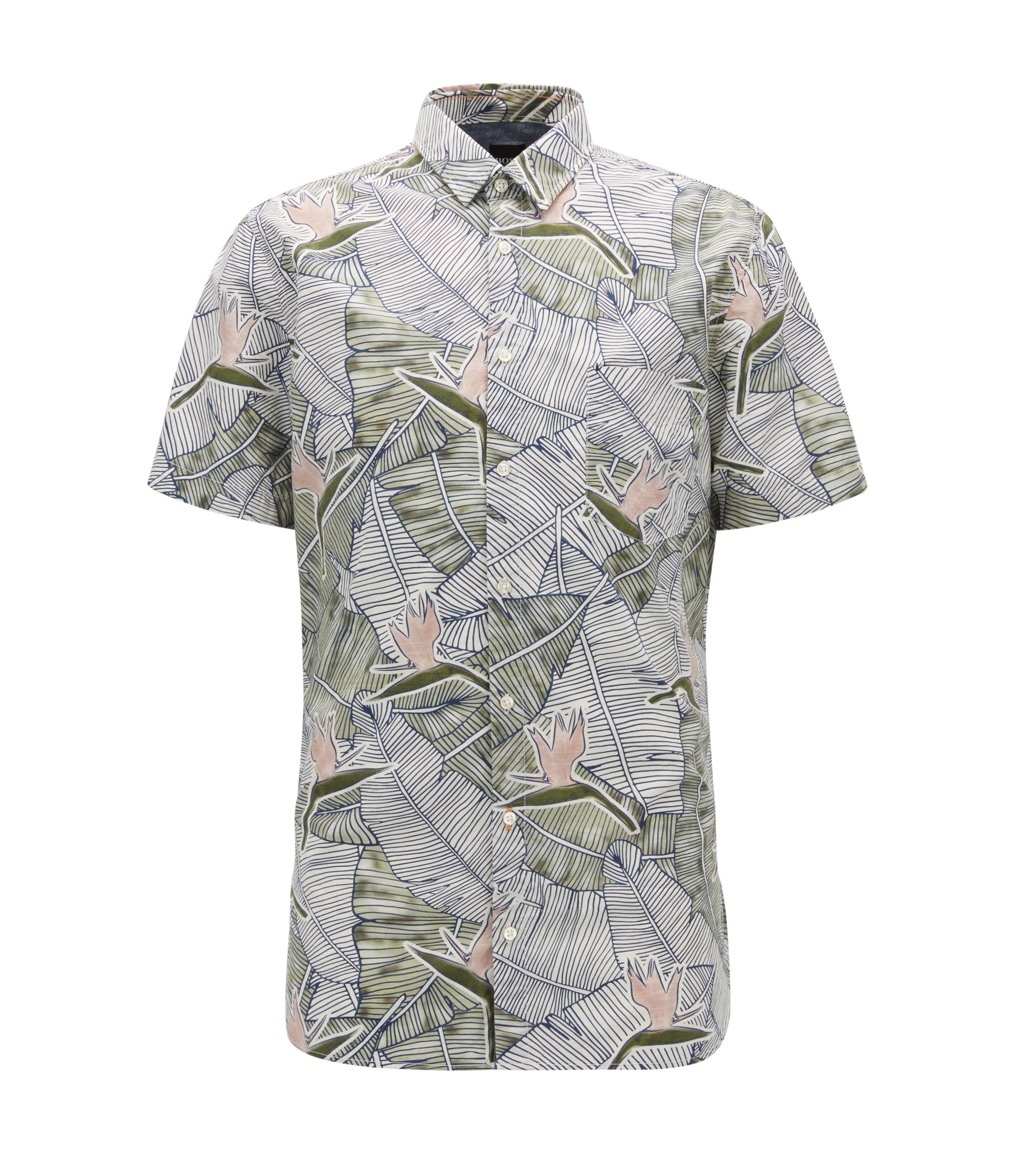 Slim-fit cotton shirt with bird-of-paradise print, Patterned