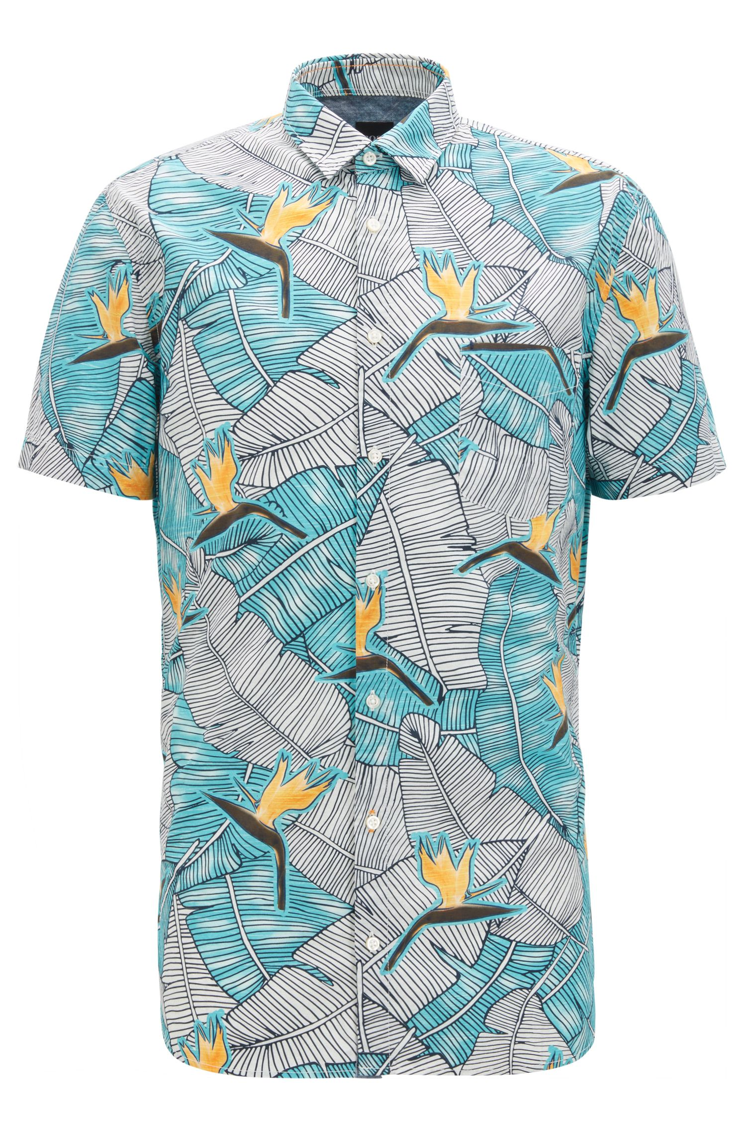 Slim-fit cotton shirt with bird-of-paradise print