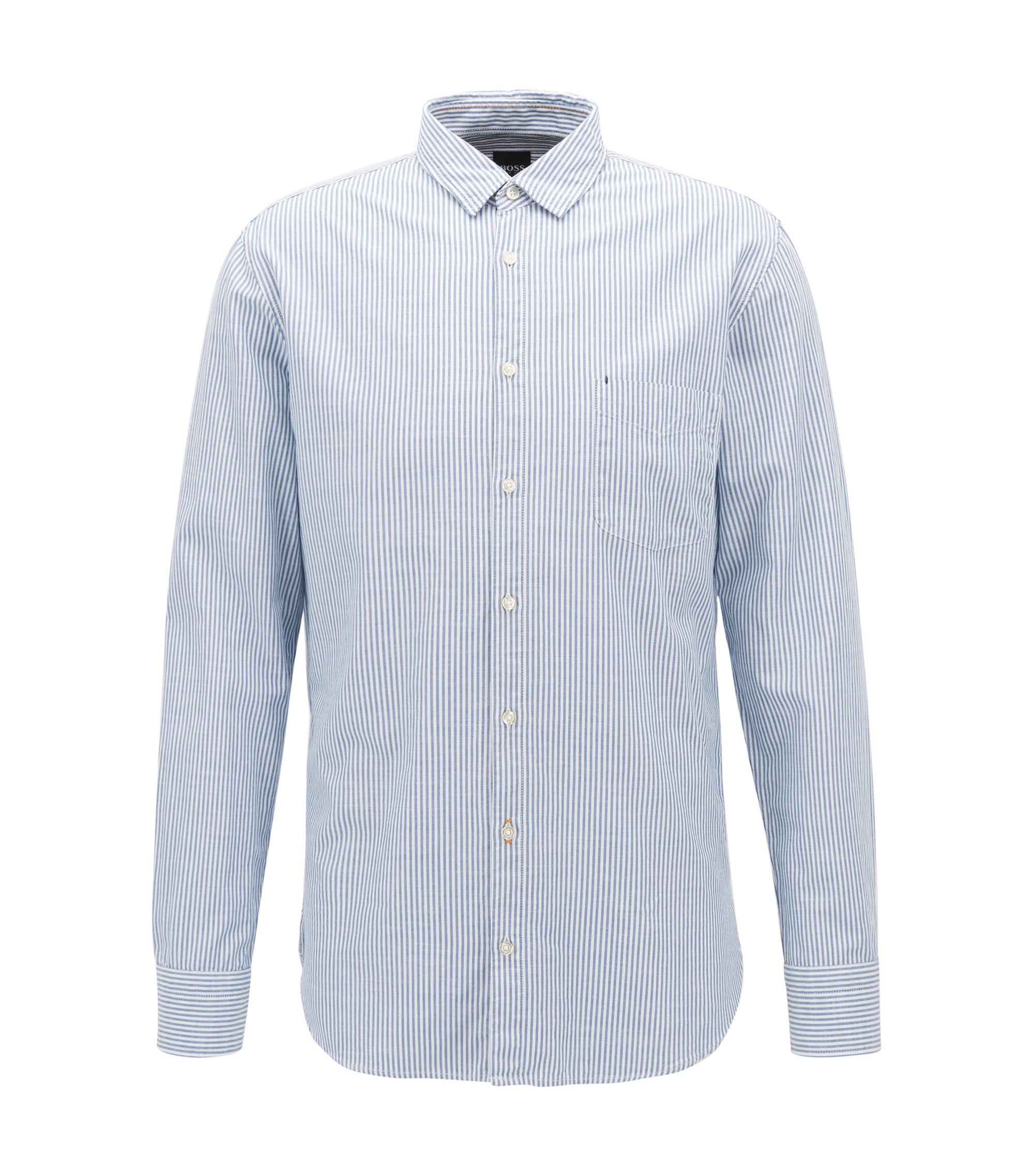 Camicia slim fit a righe in cotone slub-yarn, Blu