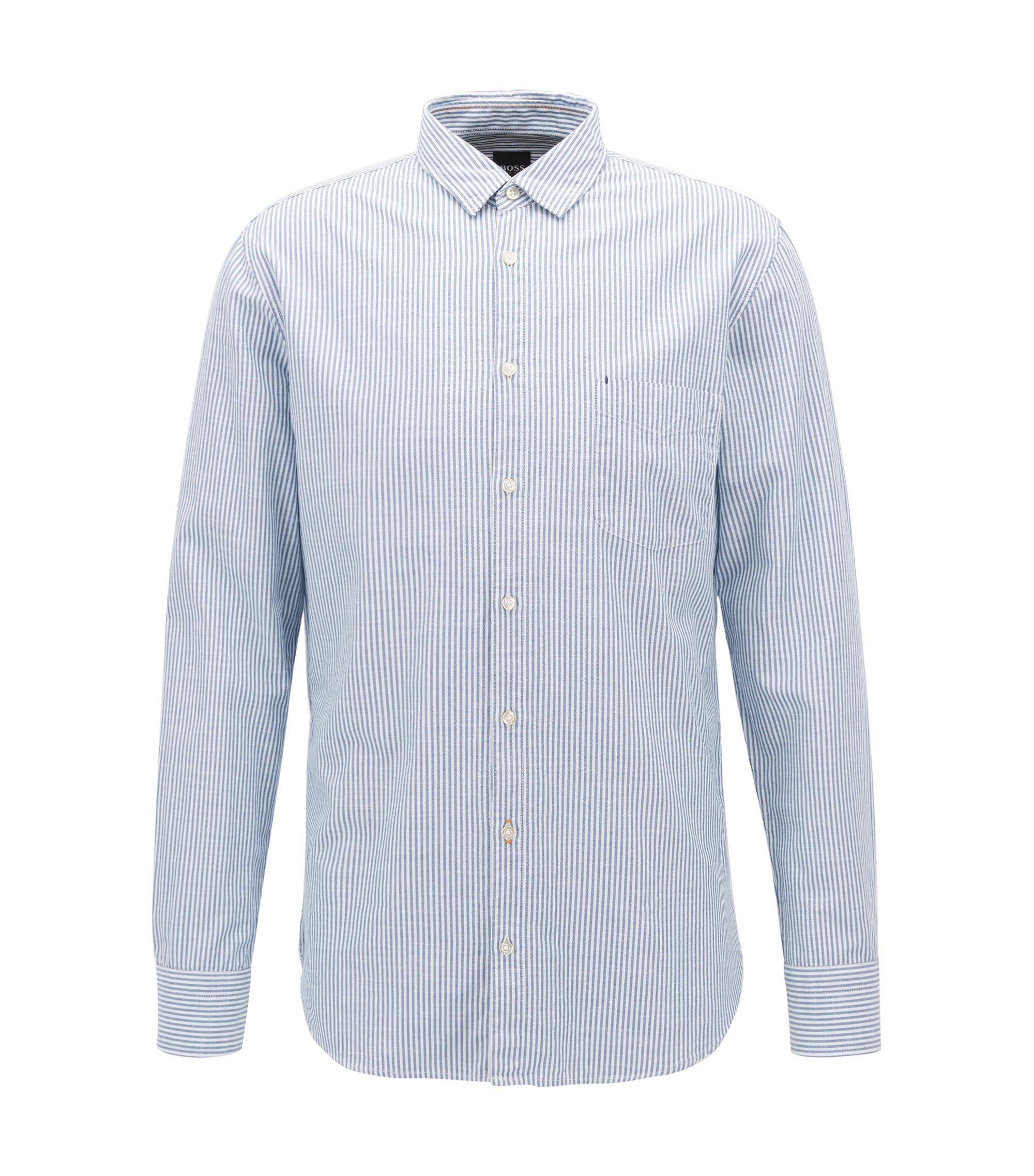 Slim-fit overhemd van gestreepte slubkatoen, Blauw