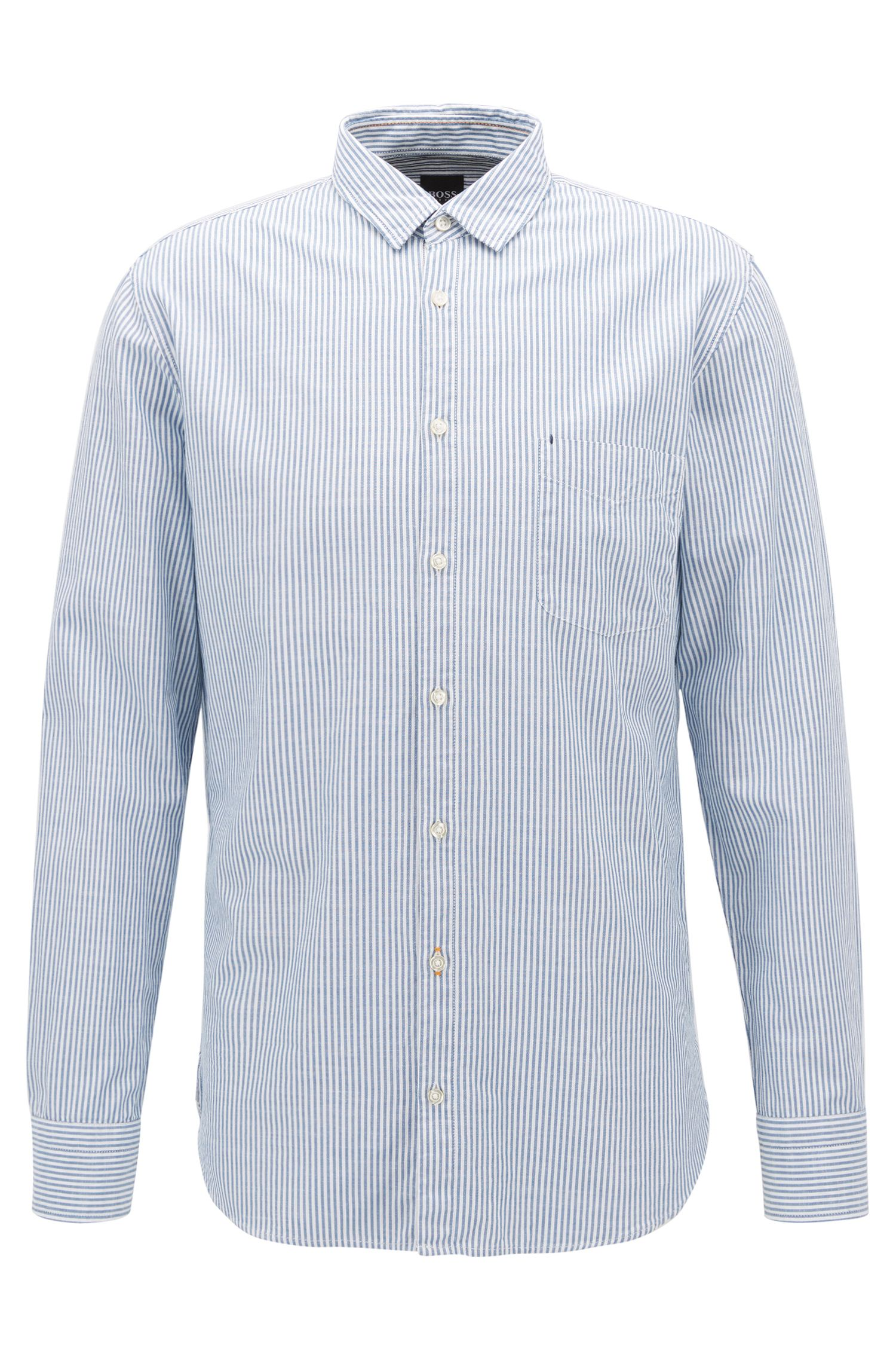 Gestreiftes Slim-Fit Hemd aus strukturierter Baumwolle