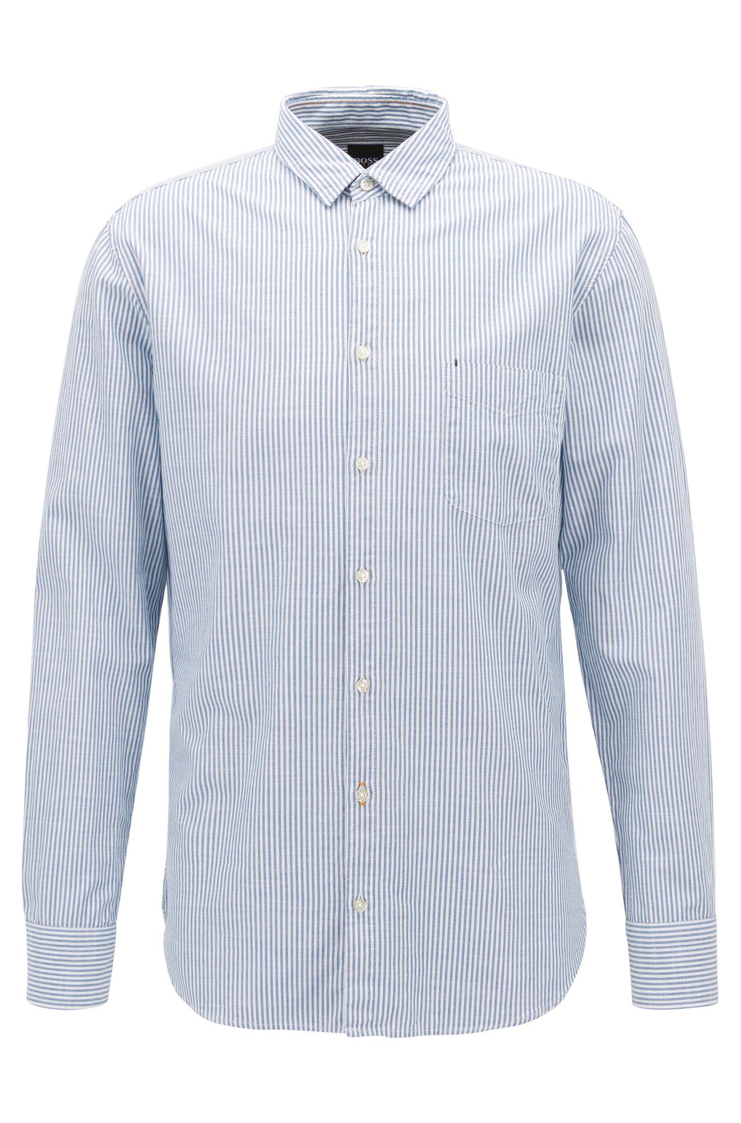 Camicia slim fit a righe in cotone slub-yarn