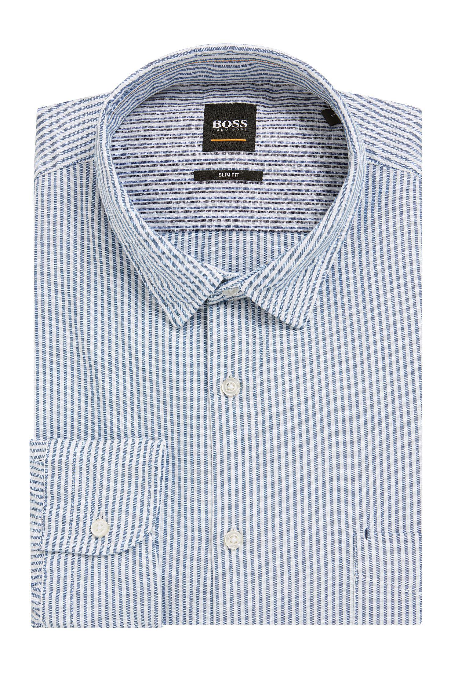 Camisa slim fit en algodón flameado a rayas