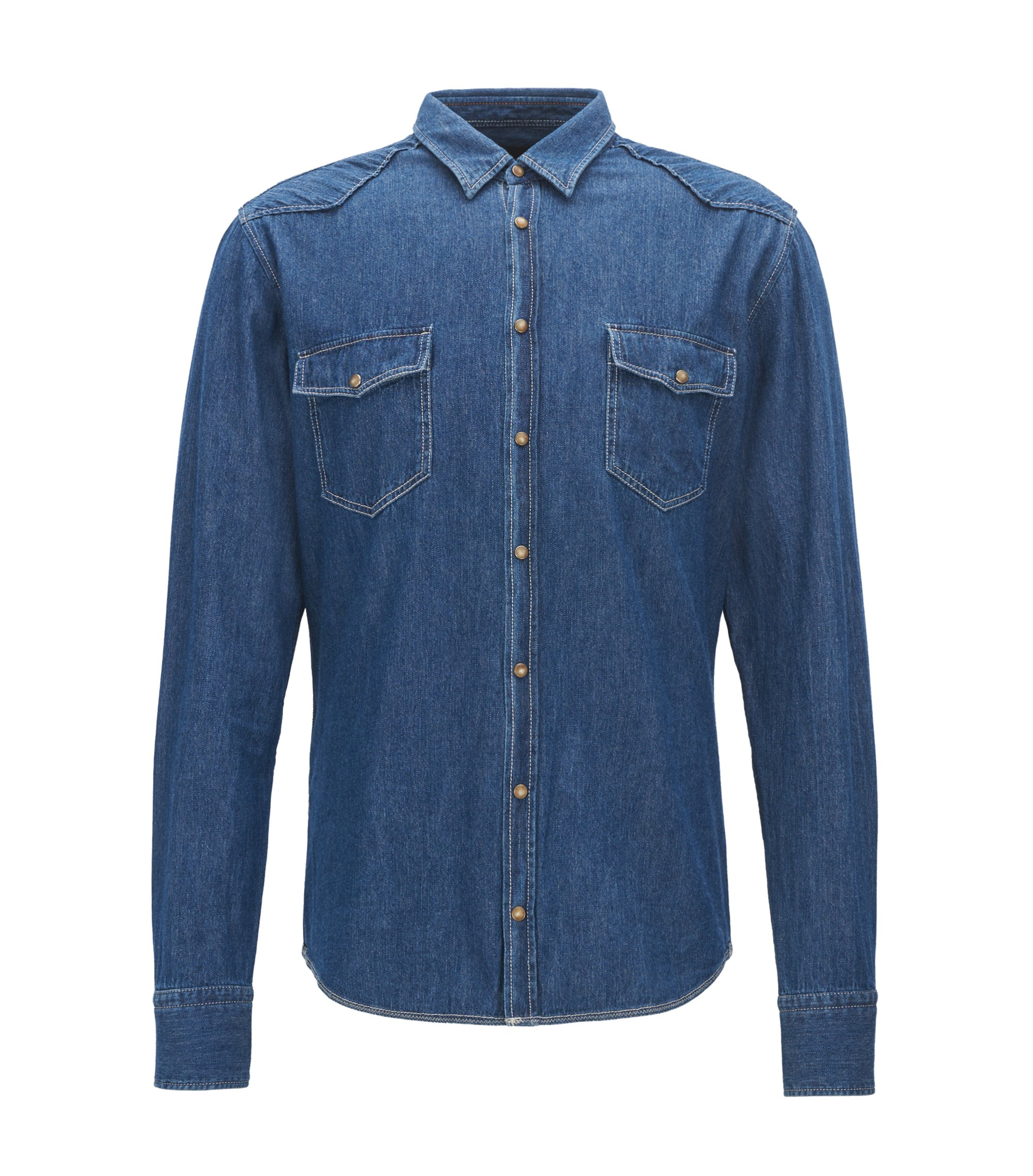 Camicia slim fit in denim stile Western, Blu scuro