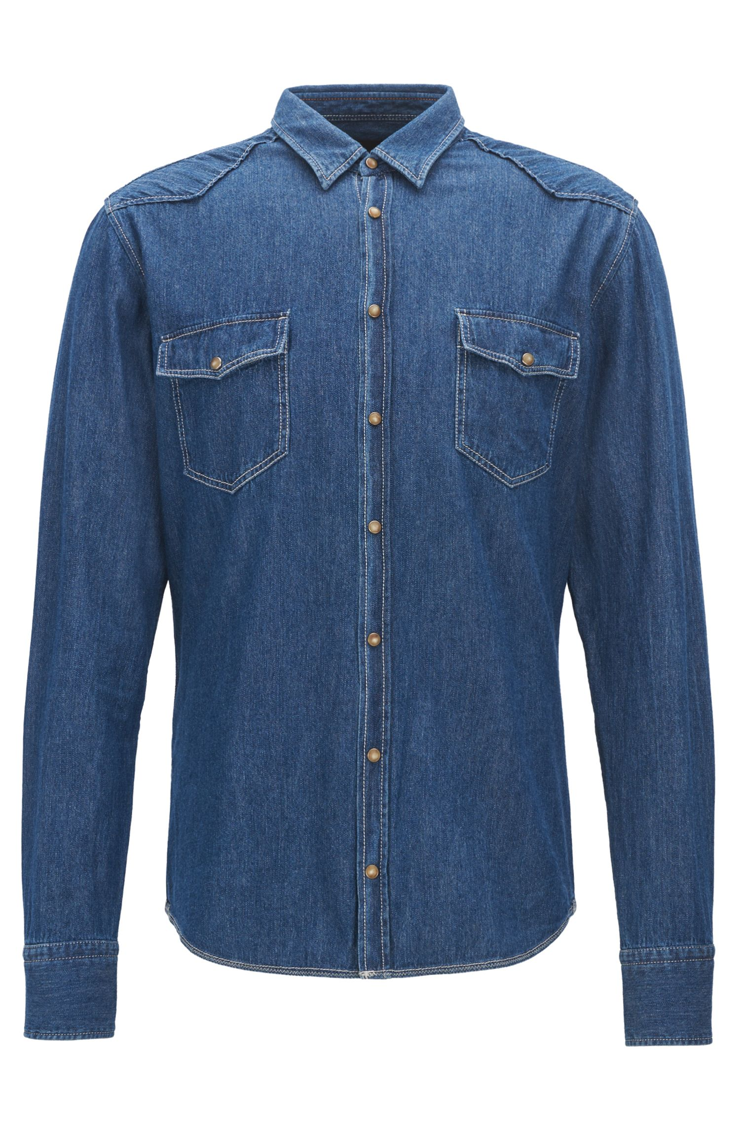Camicia slim fit in denim stile Western
