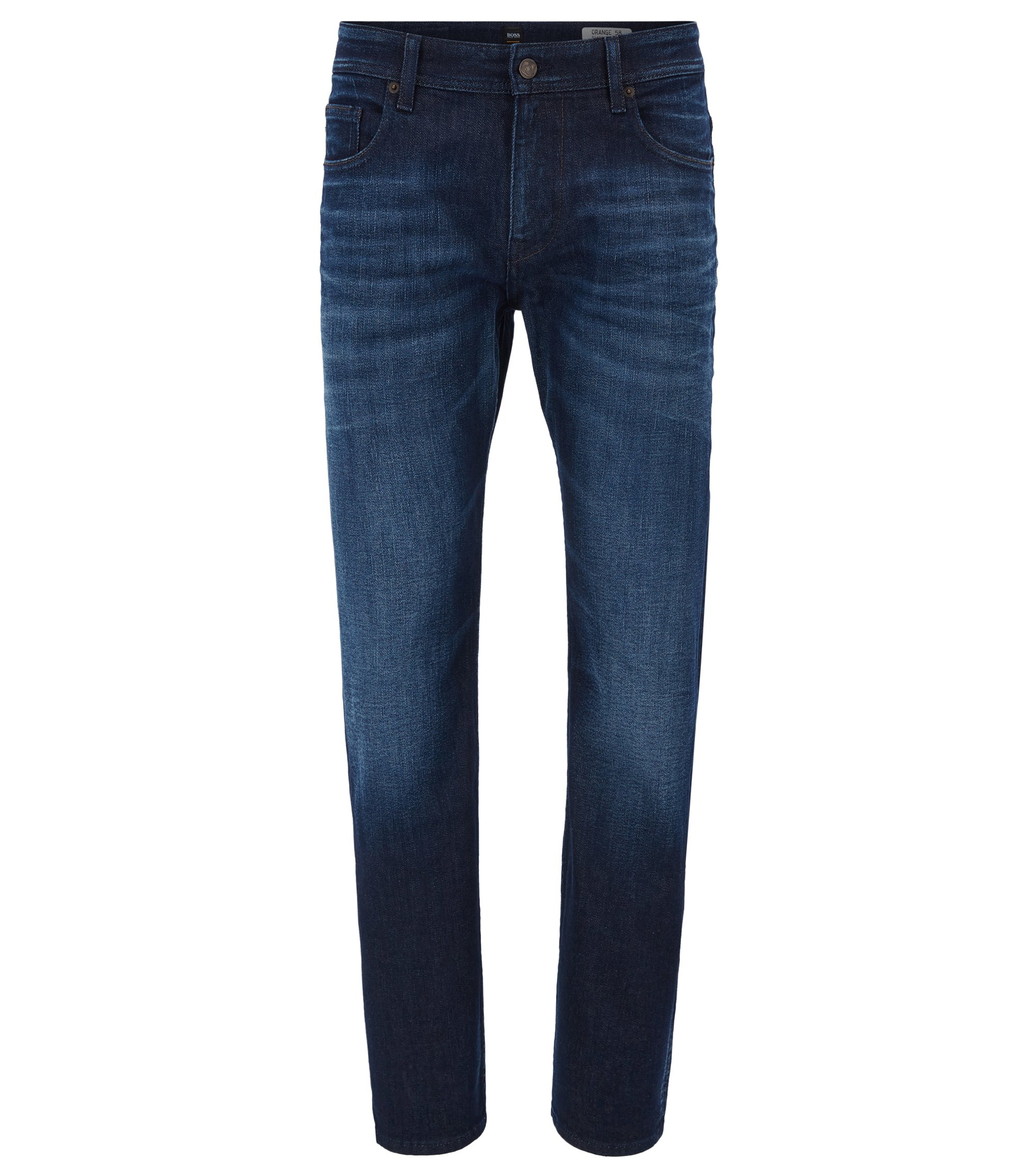 Relaxed-Fit Jeans aus Stretch-Denim in Used-Optik, Dunkelblau