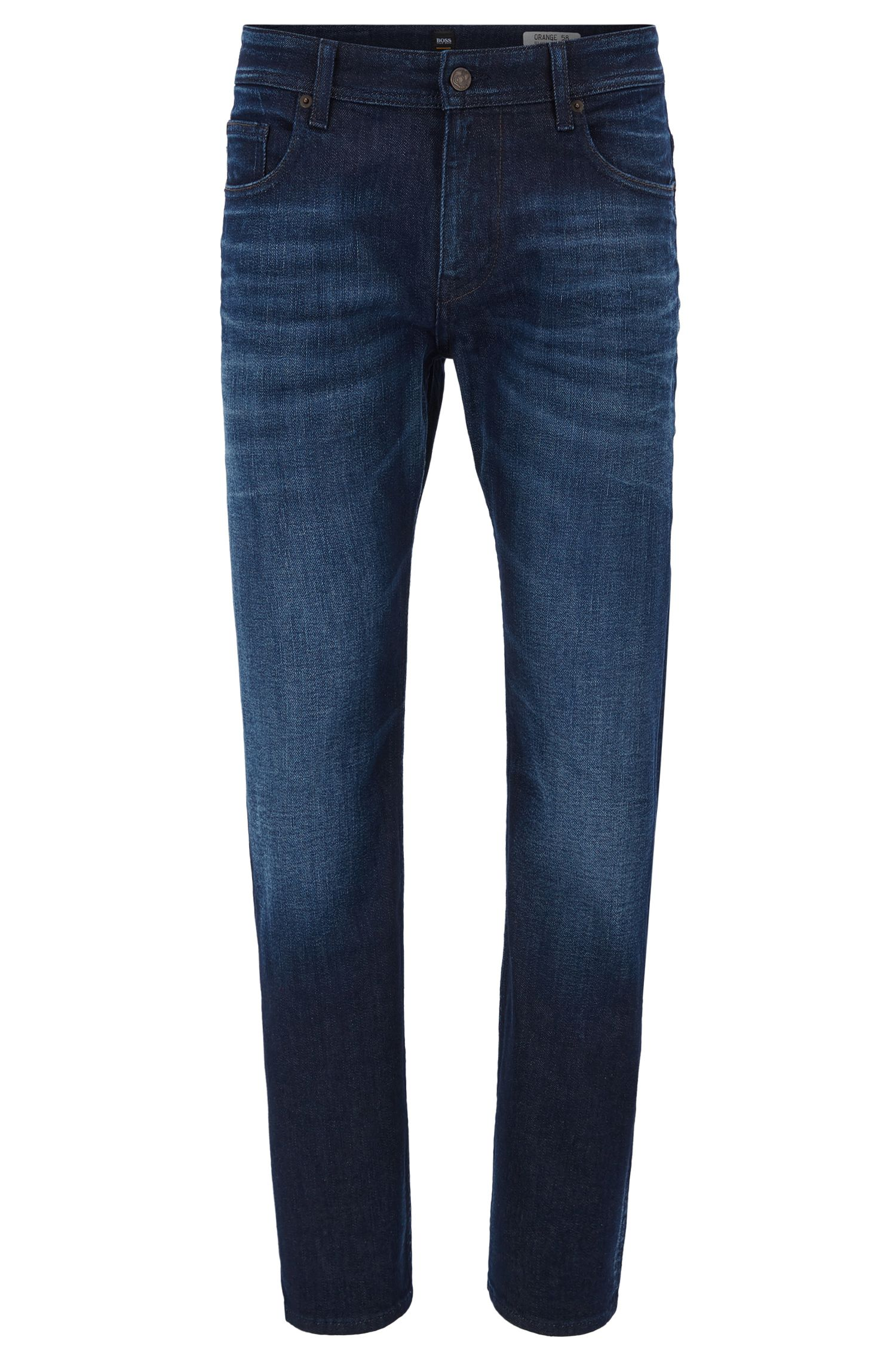 Distressed vintage-blue stretch-denim jeans in a relaxed fit