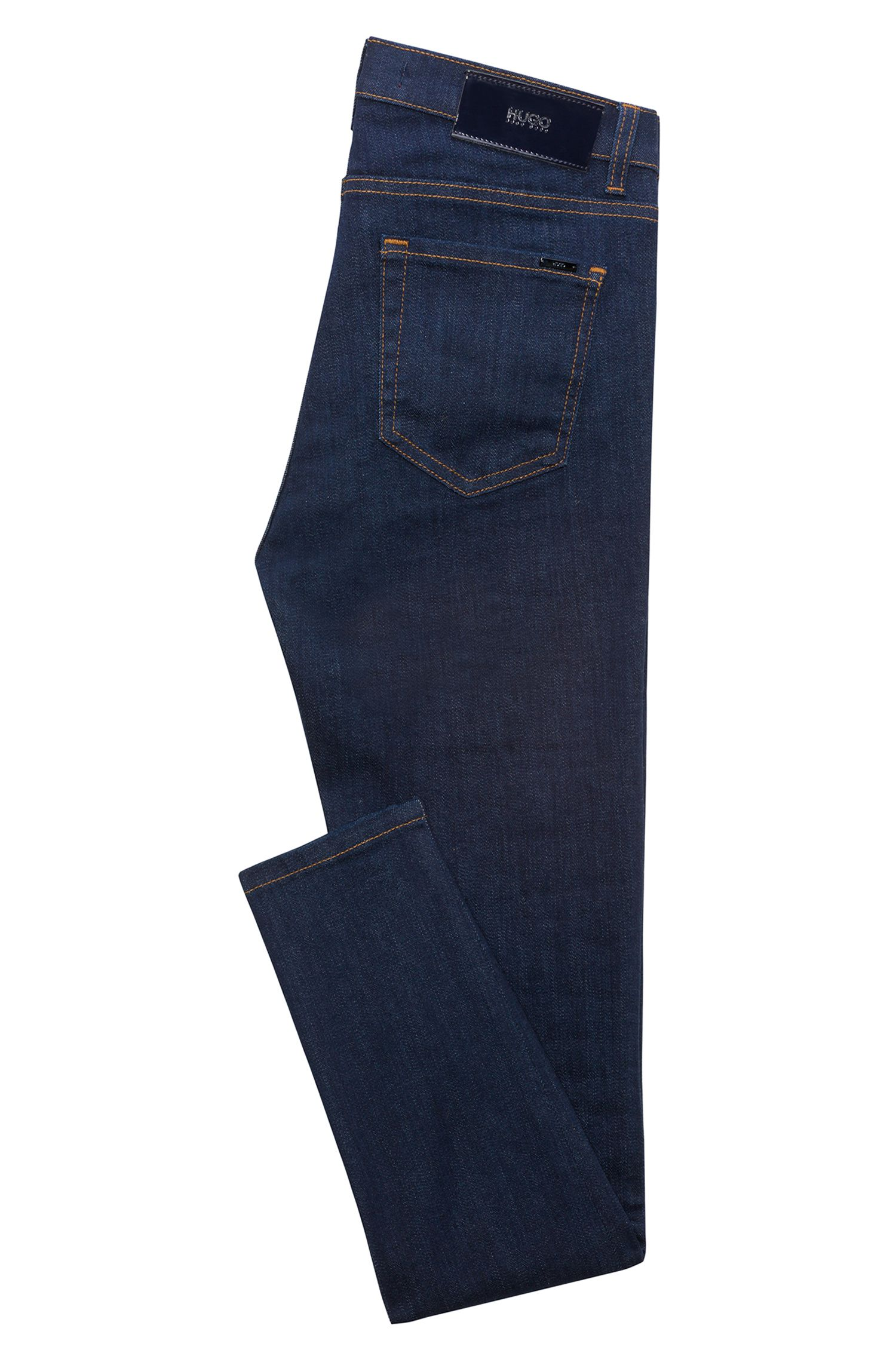 Extra slim-fit jeans van donkerblauw denim