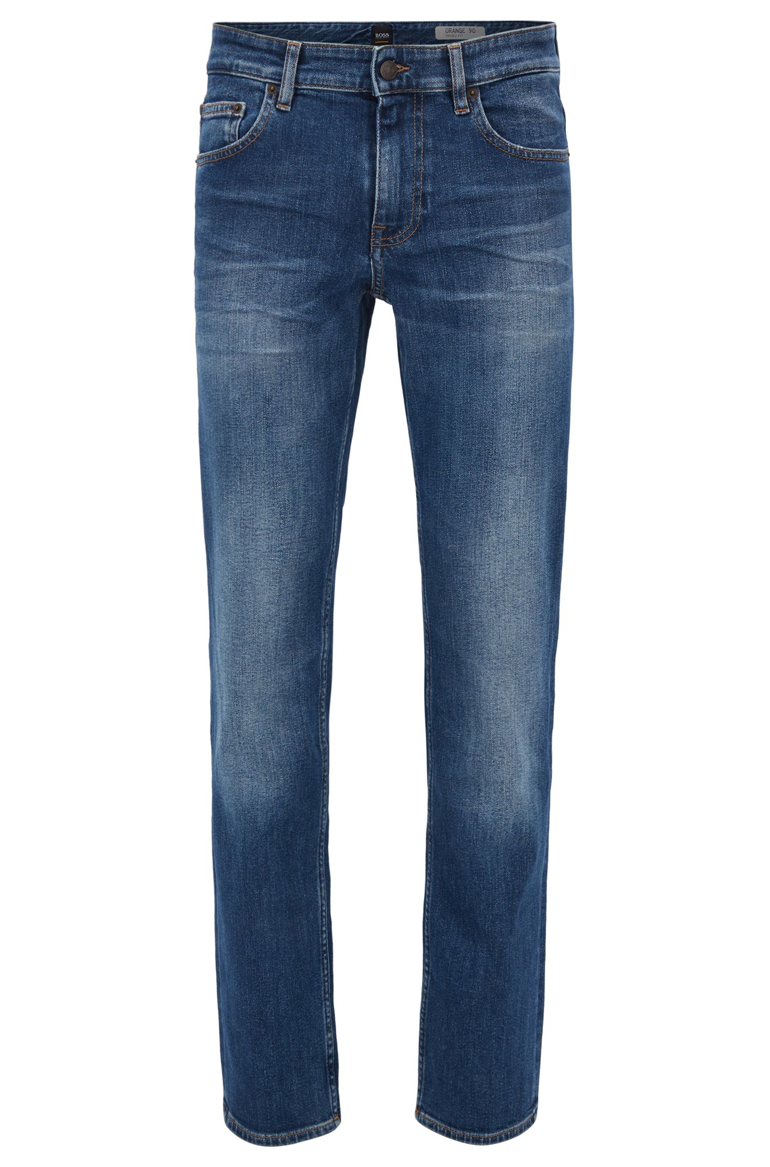 Slim-fit jeans van comfortabel, middelblauw stretchdenim