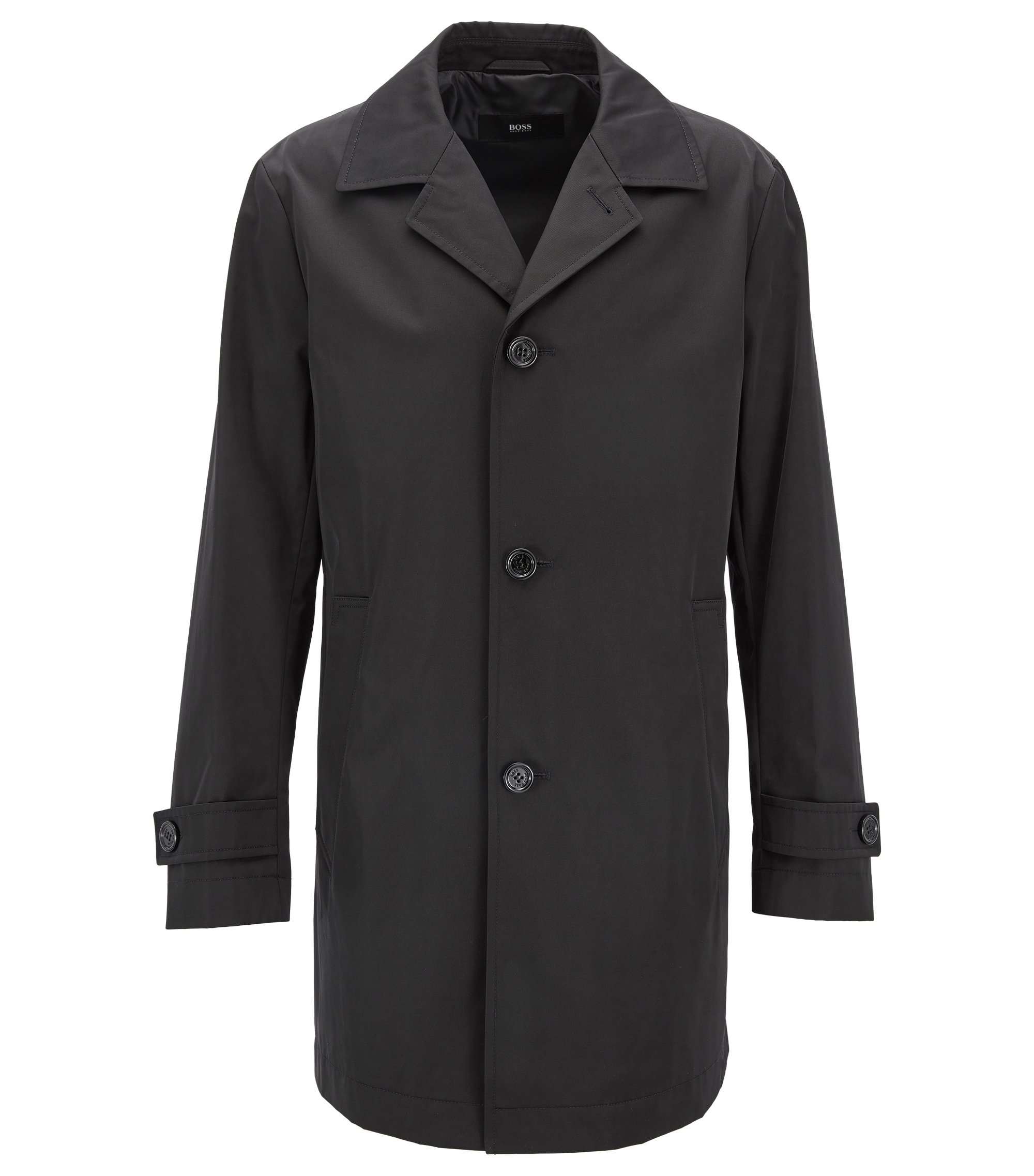 Water-repellent coat in technical twill, Black