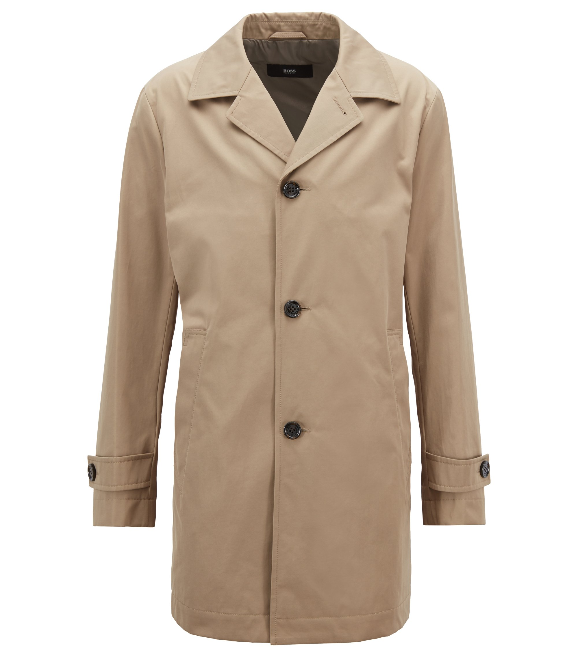 Water-repellent coat in technical twill, Beige