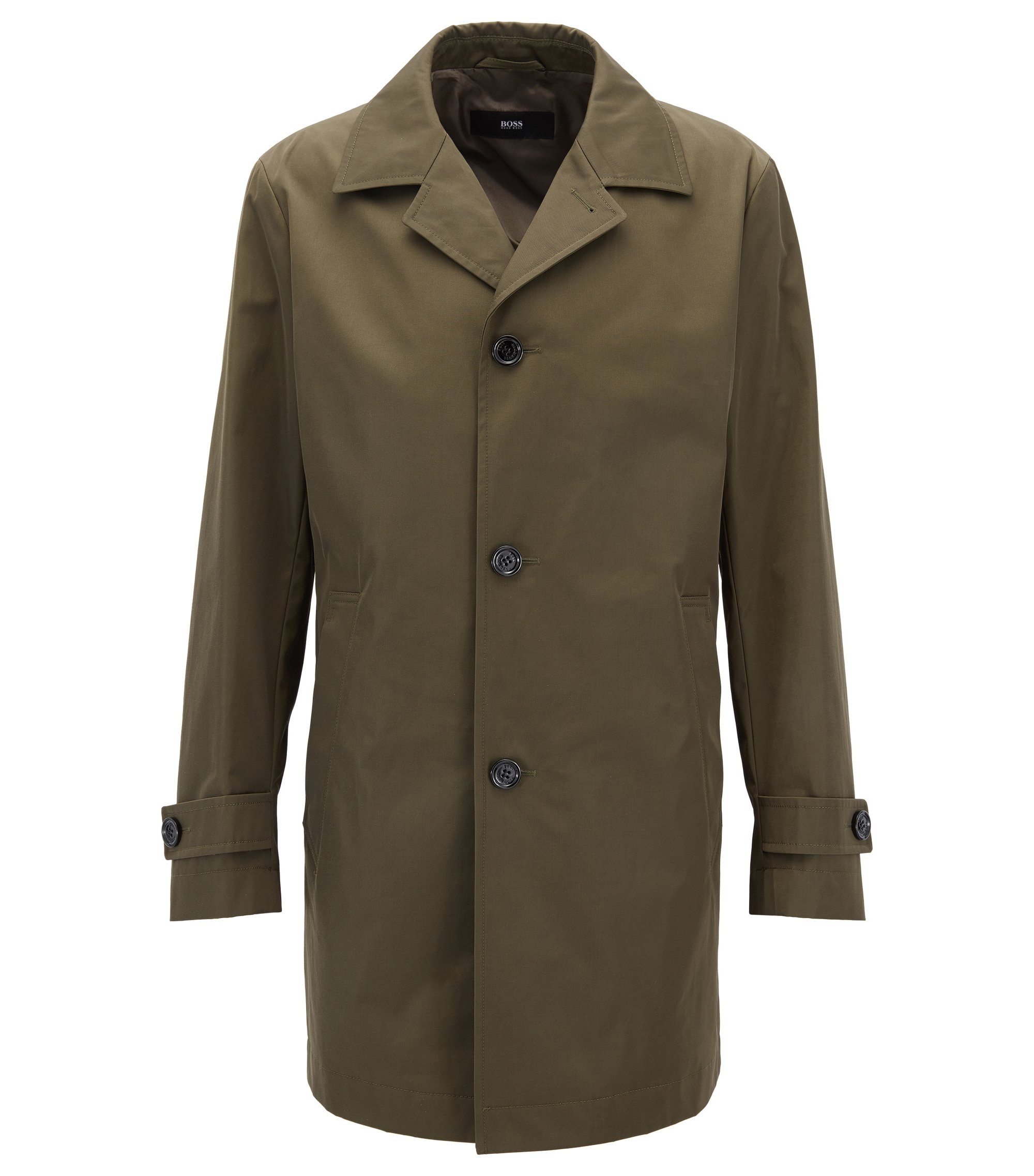Cappotto idrorepellente in twill tecnico, Verde scuro