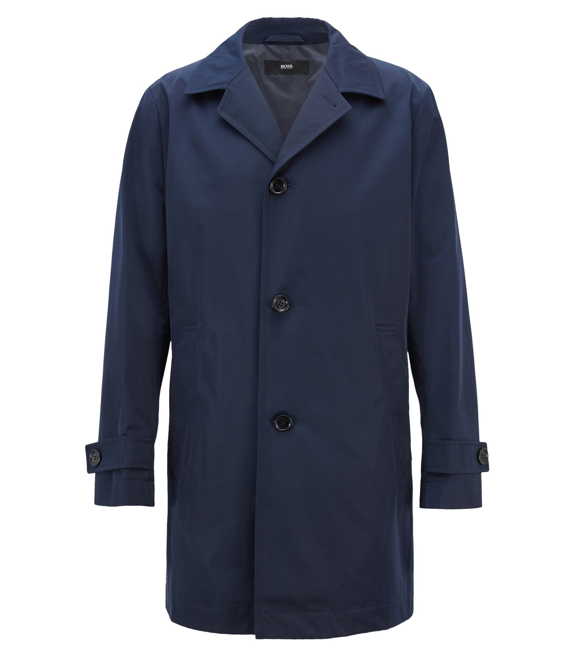 Cappotto idrorepellente in twill tecnico, Blu scuro