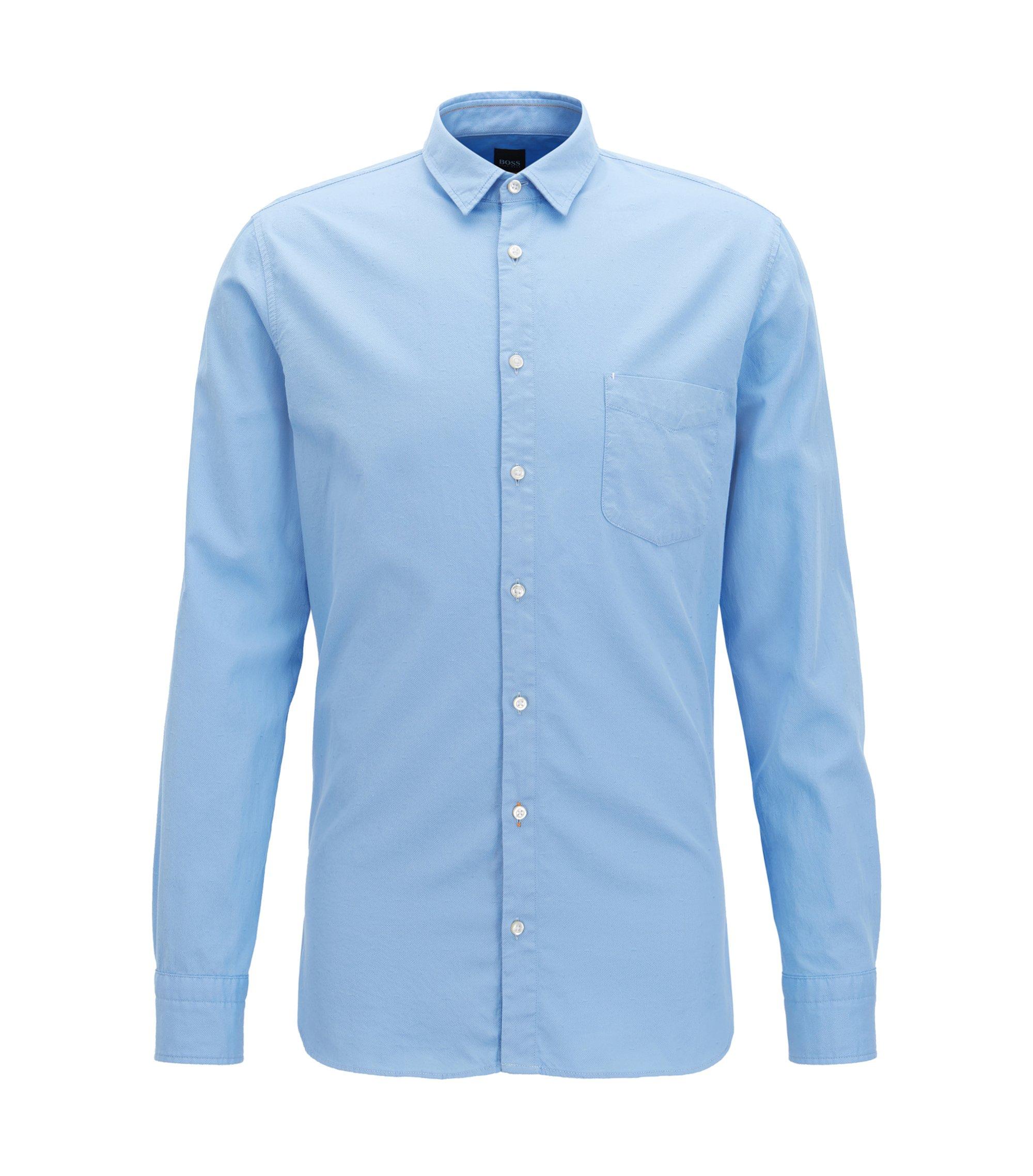 Slim-fit overhemd van dobbykatoen, Lichtblauw