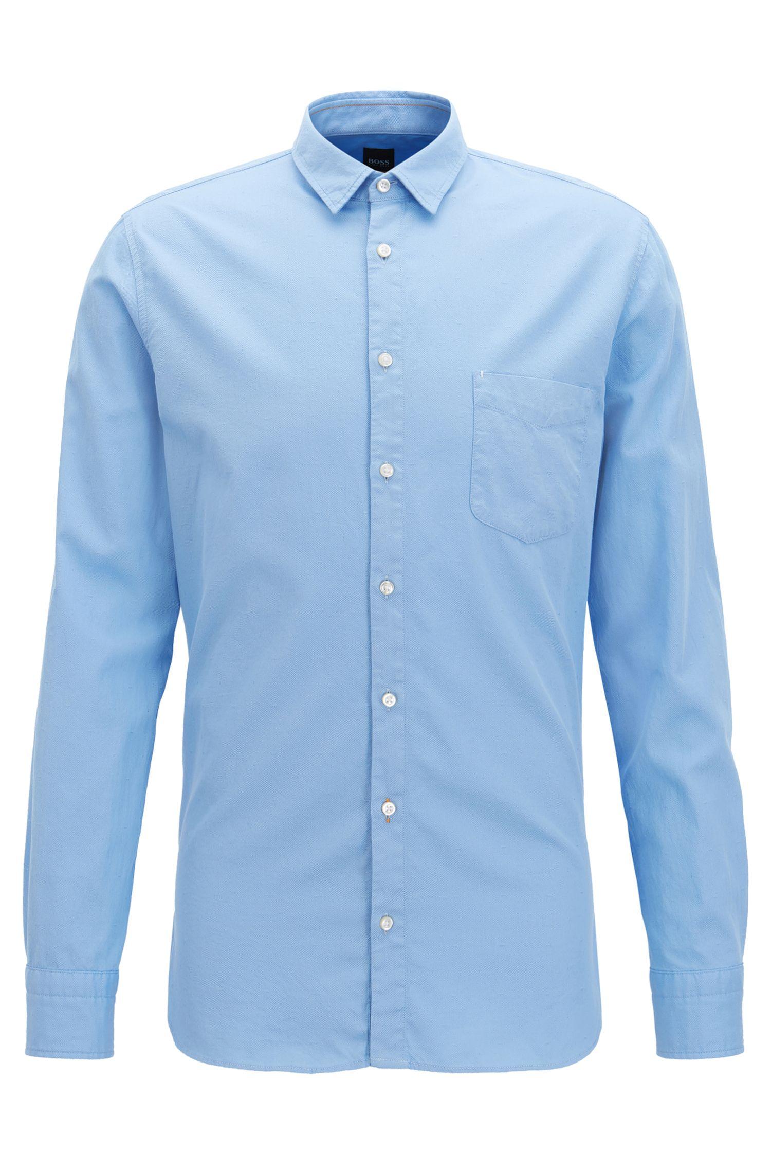 Slim-fit overhemd van dobbykatoen