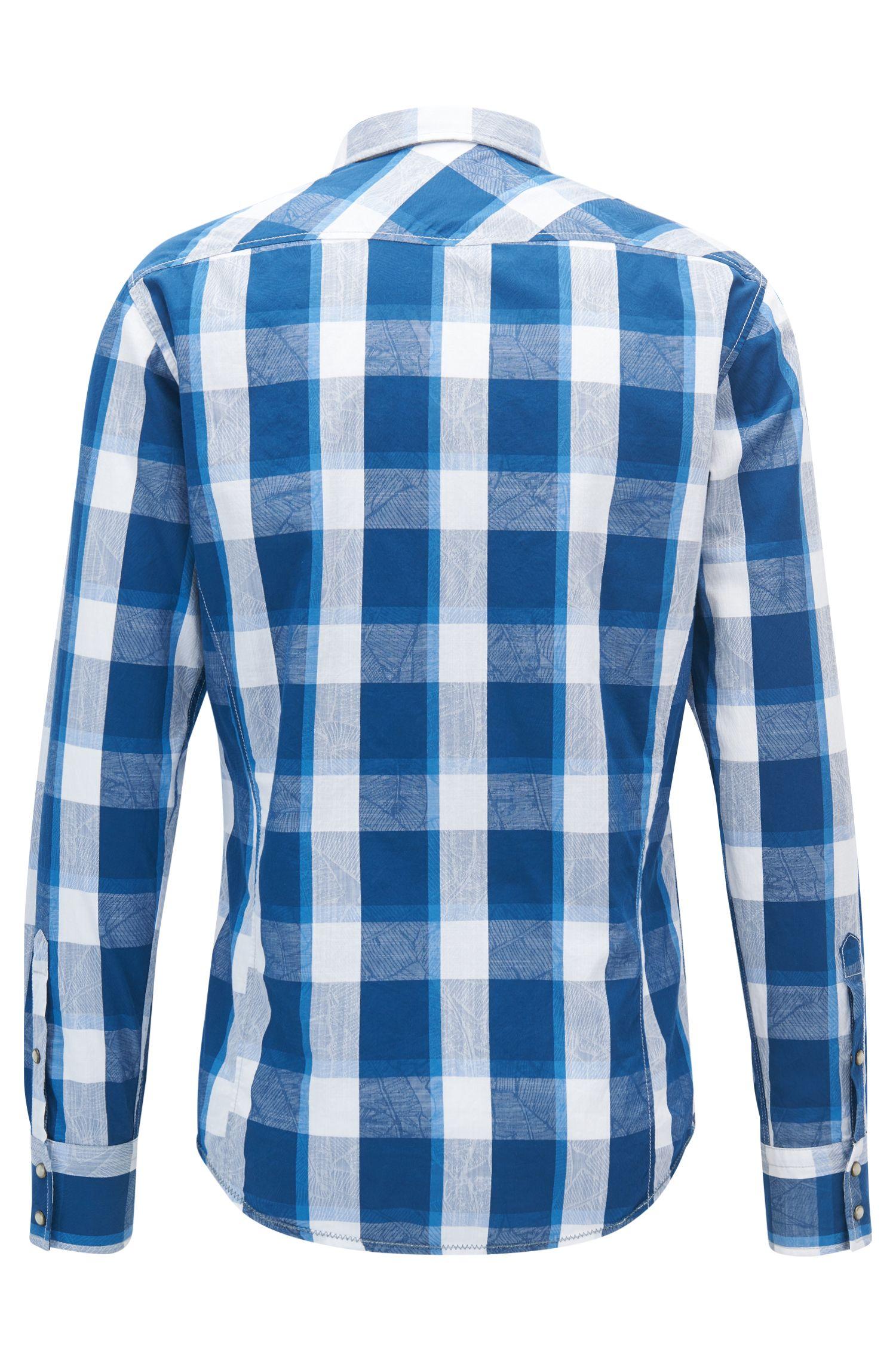 Camicia a quadri slim fit in stile Western in jacquard di cotone