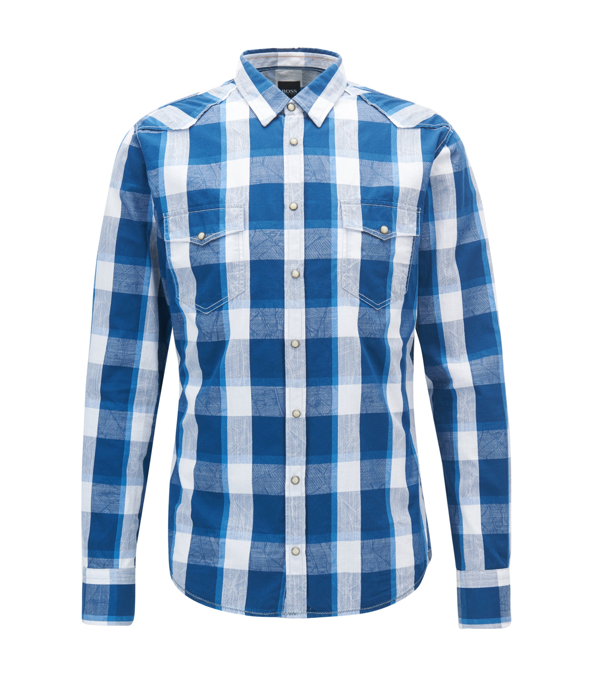 Slim-fit Western-style checked shirt in cotton jacquard, Dark Blue