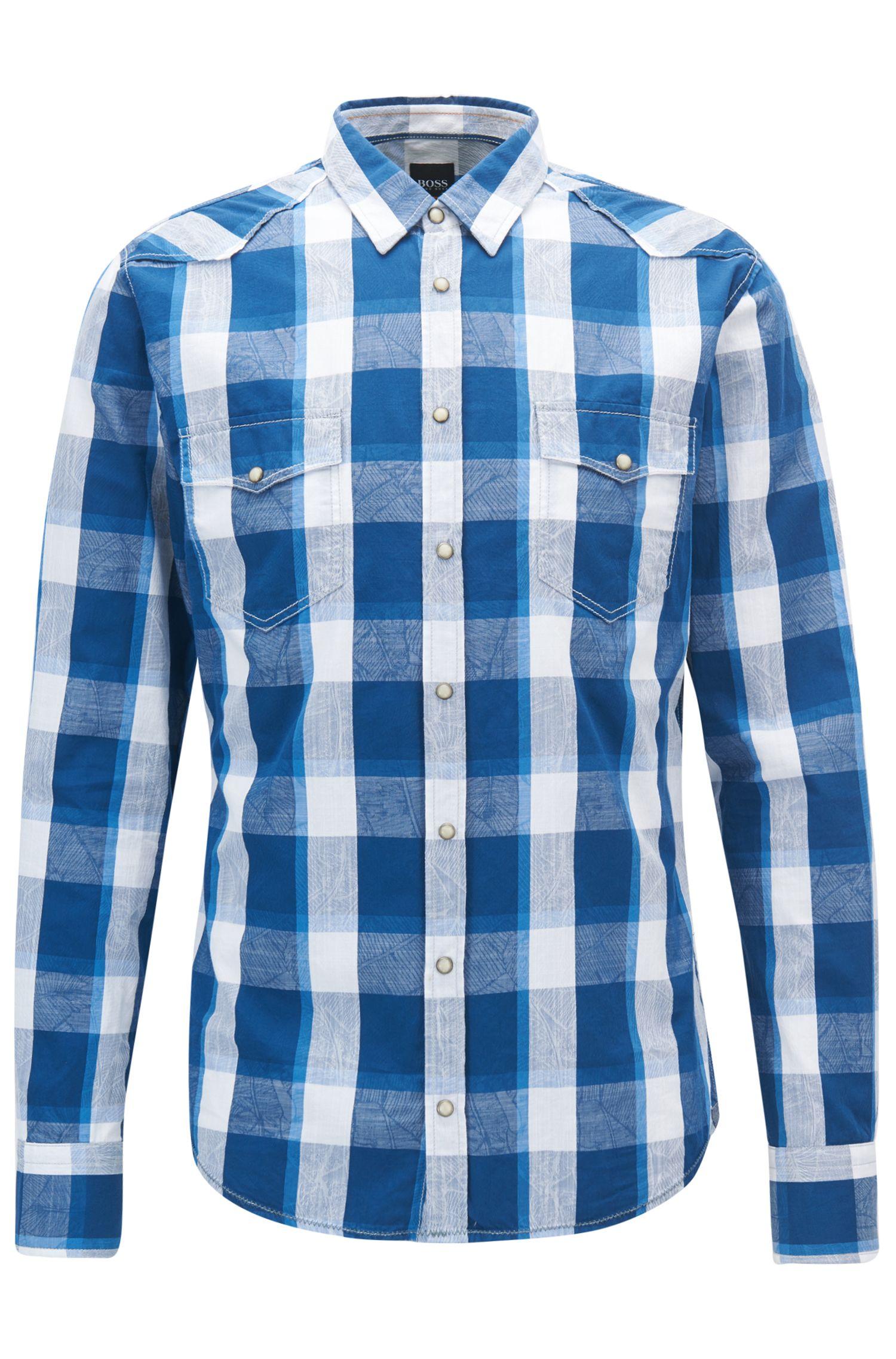 Chemise à carreaux Slim Fit style western en jacquard de coton