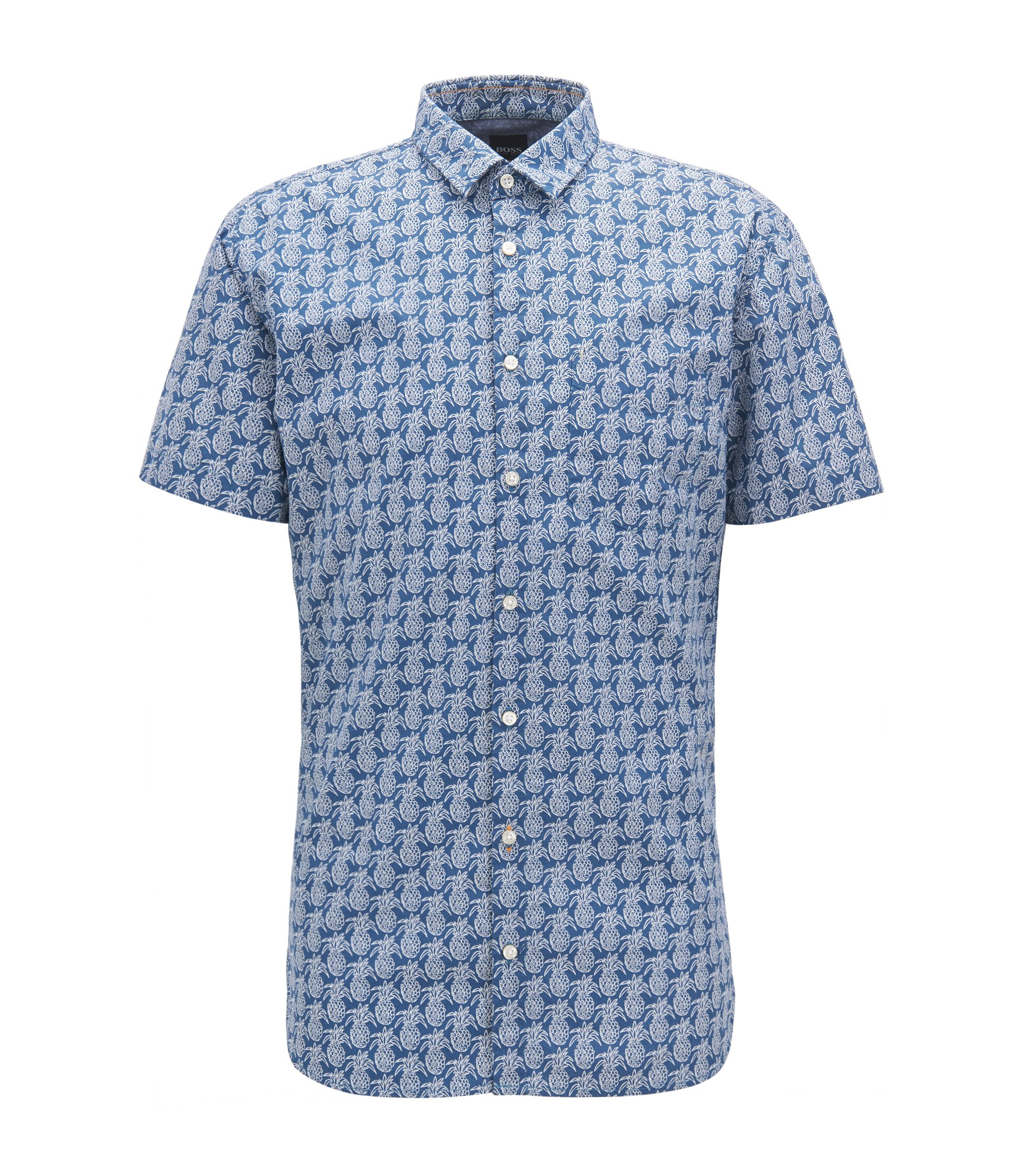 Pineapple-print cotton shirt in a slim fit, Dark Blue