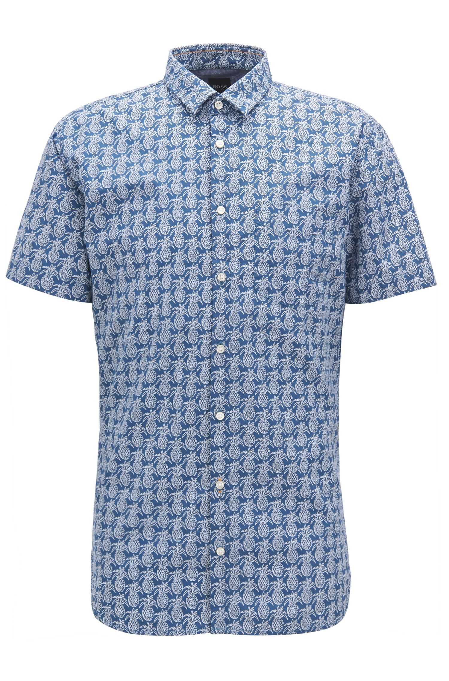 Pineapple-print cotton shirt in a slim fit