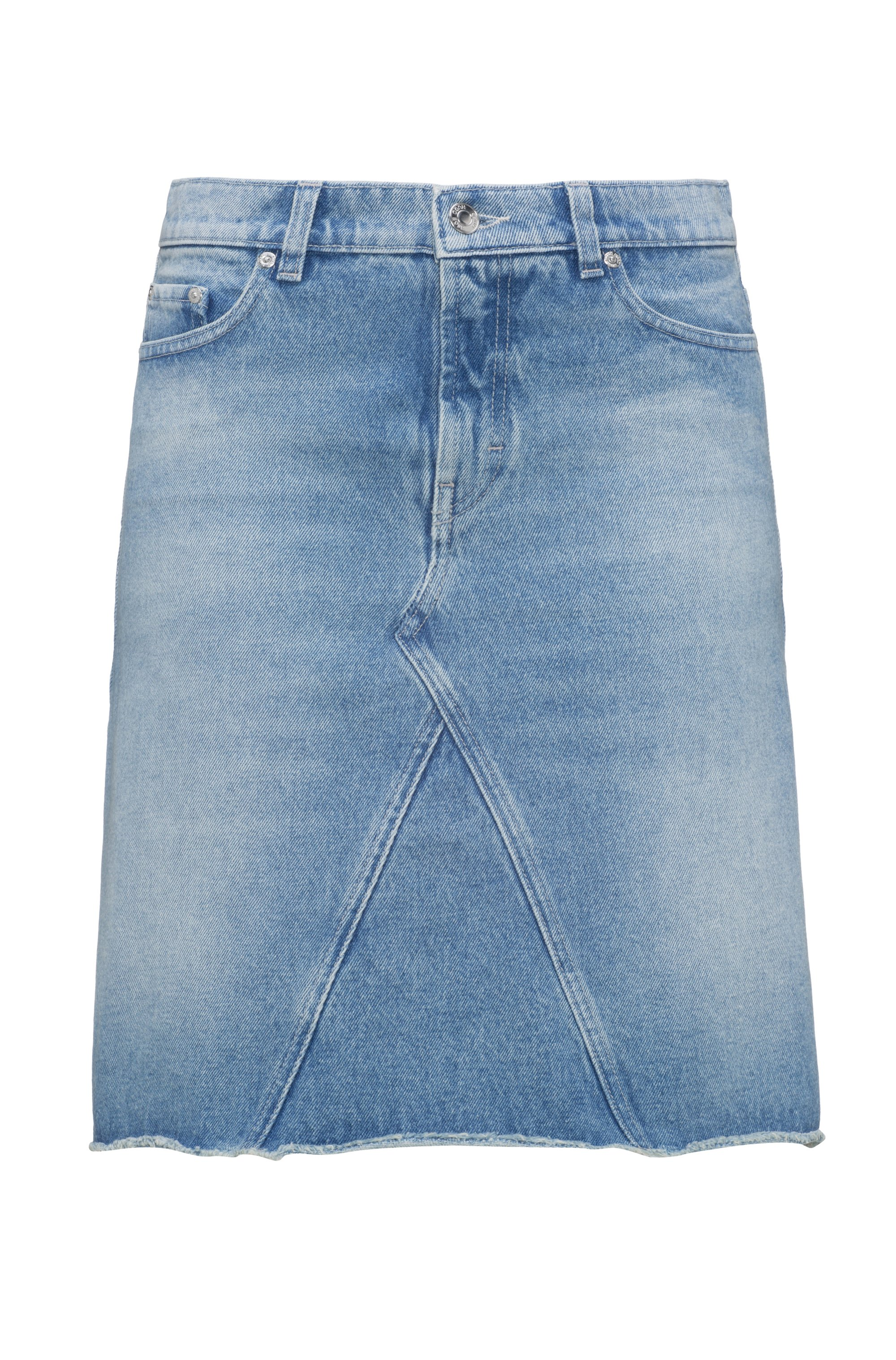 A-line denim skirt with raw-cut hemline, Light Blue