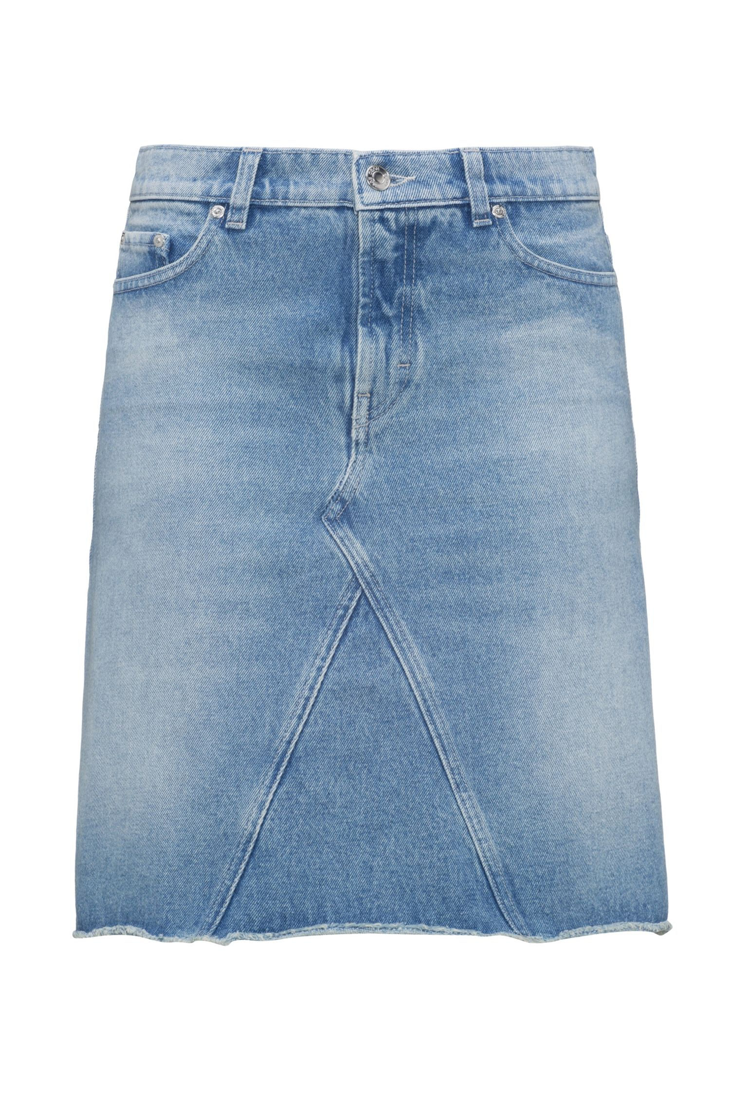 Jeansrock in A-Linie mit offenem Saum
