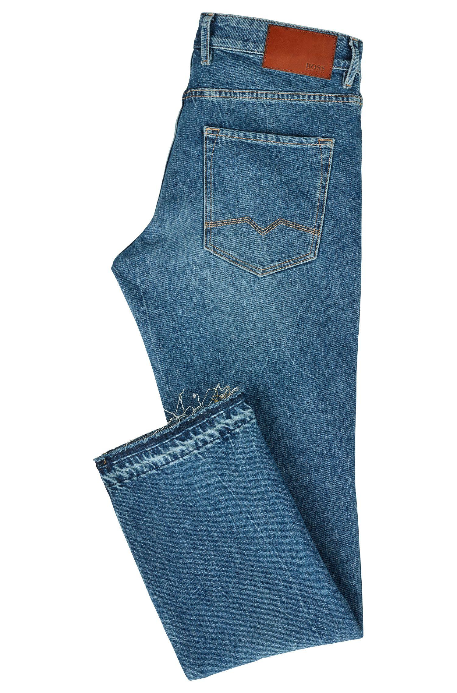 Regular-fit jeans in marble-effect denim BOSS