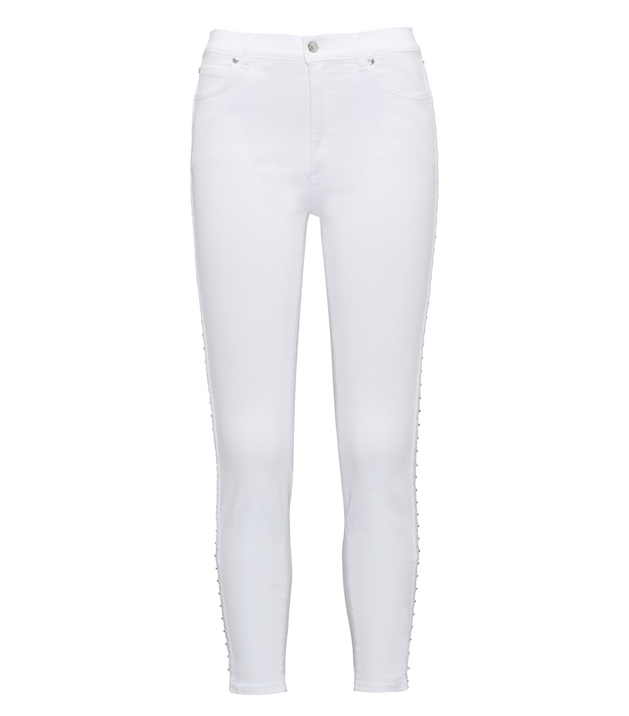 Skinny-fit denim jeans with hook-and-eye seams, White